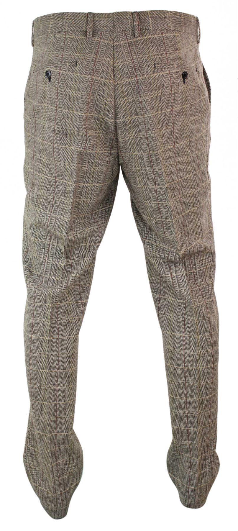 Mens-Herringbone-Tweed-Check-Peaky-Blinders-Trousers-Wool-Vintage-Classic-Retro thumbnail 9