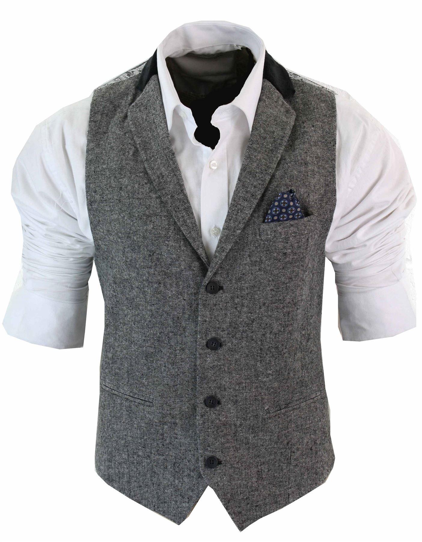 gilet homme veston vintage tweed chevrons marron noir. Black Bedroom Furniture Sets. Home Design Ideas