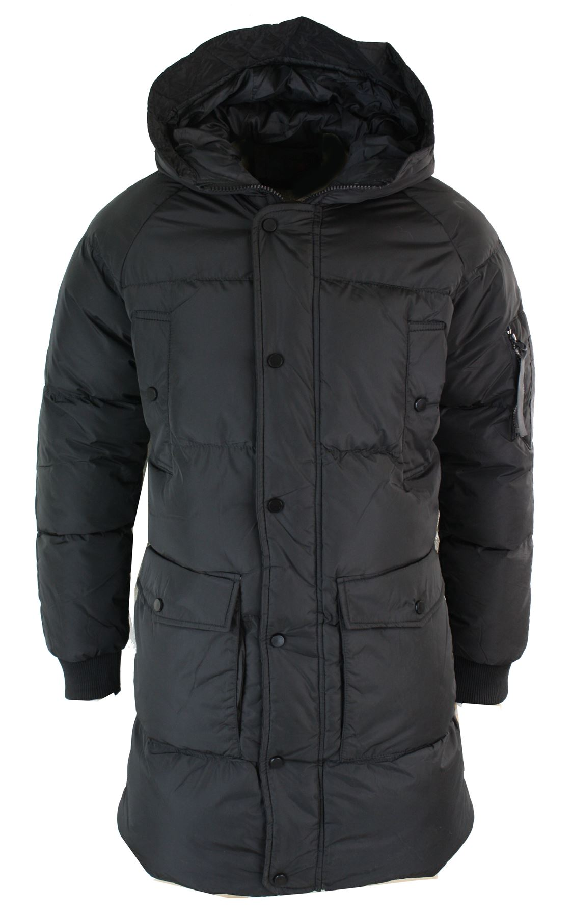 mens puffer quilted long 34 hood jacket over coat casual