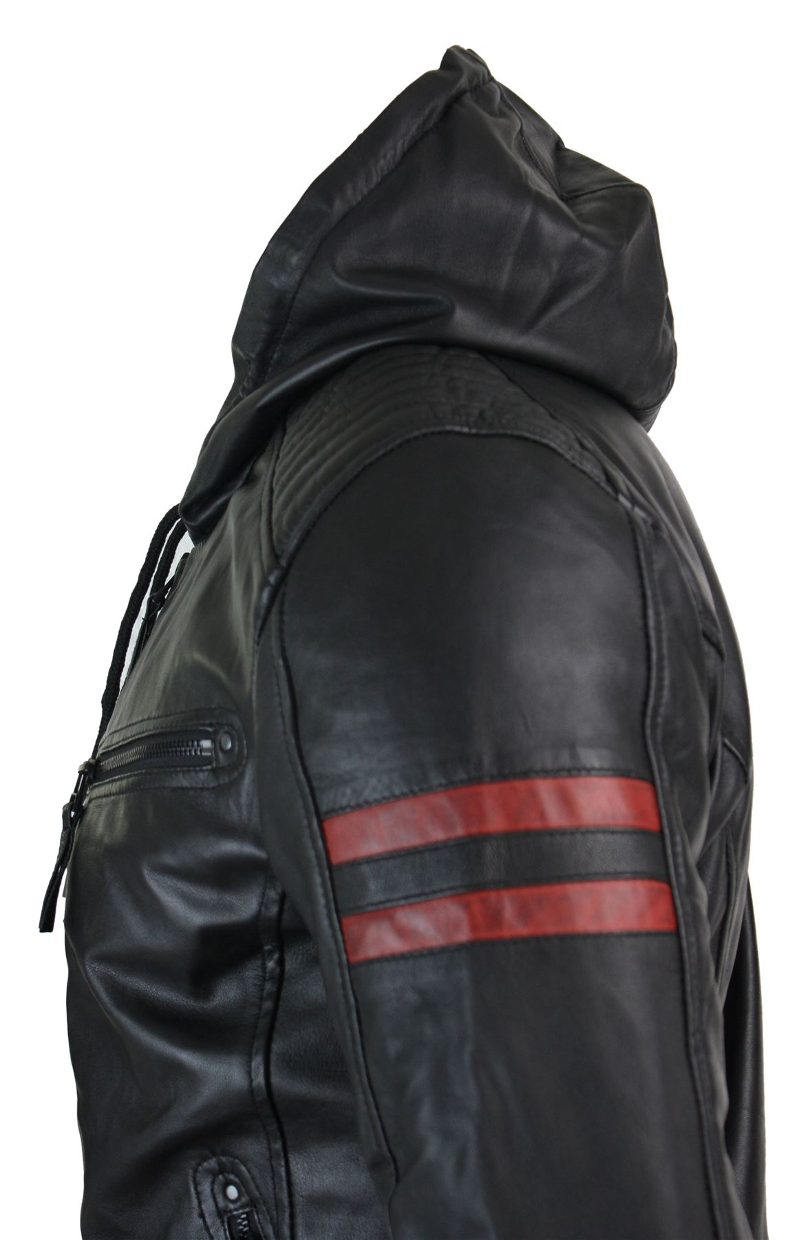 Mens-Black-Hood-Real-Leather-Bomber-Jacket-Red-Stripes-Quilted-Slim-Fit-Casual miniature 6