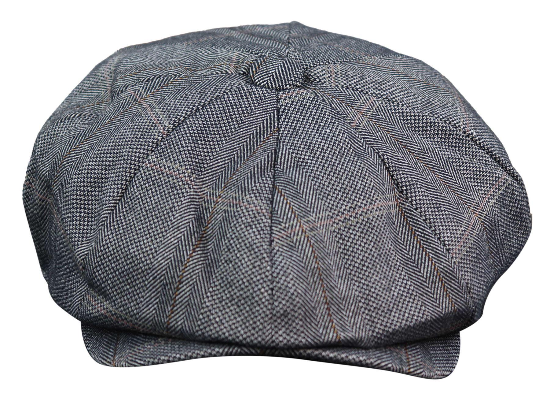 Da Uomo Herringbone In Tweed Berretto Piatto Cappello Da Strillone Cappello Peaky Blinder Baker Boy Cappelli