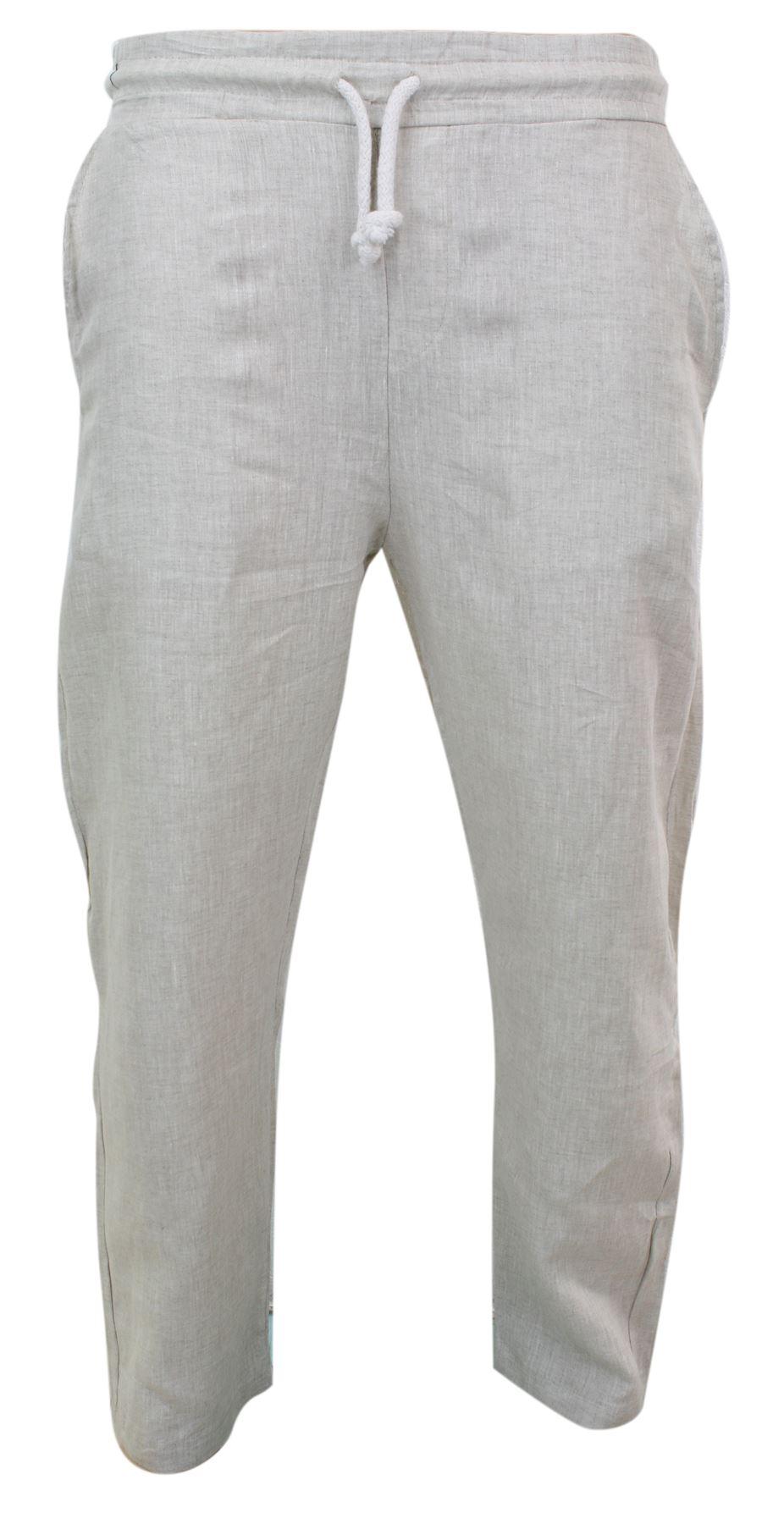 Lin Pur Chic Décontracté Pantalon Taille Homme nxwfBEvUqY