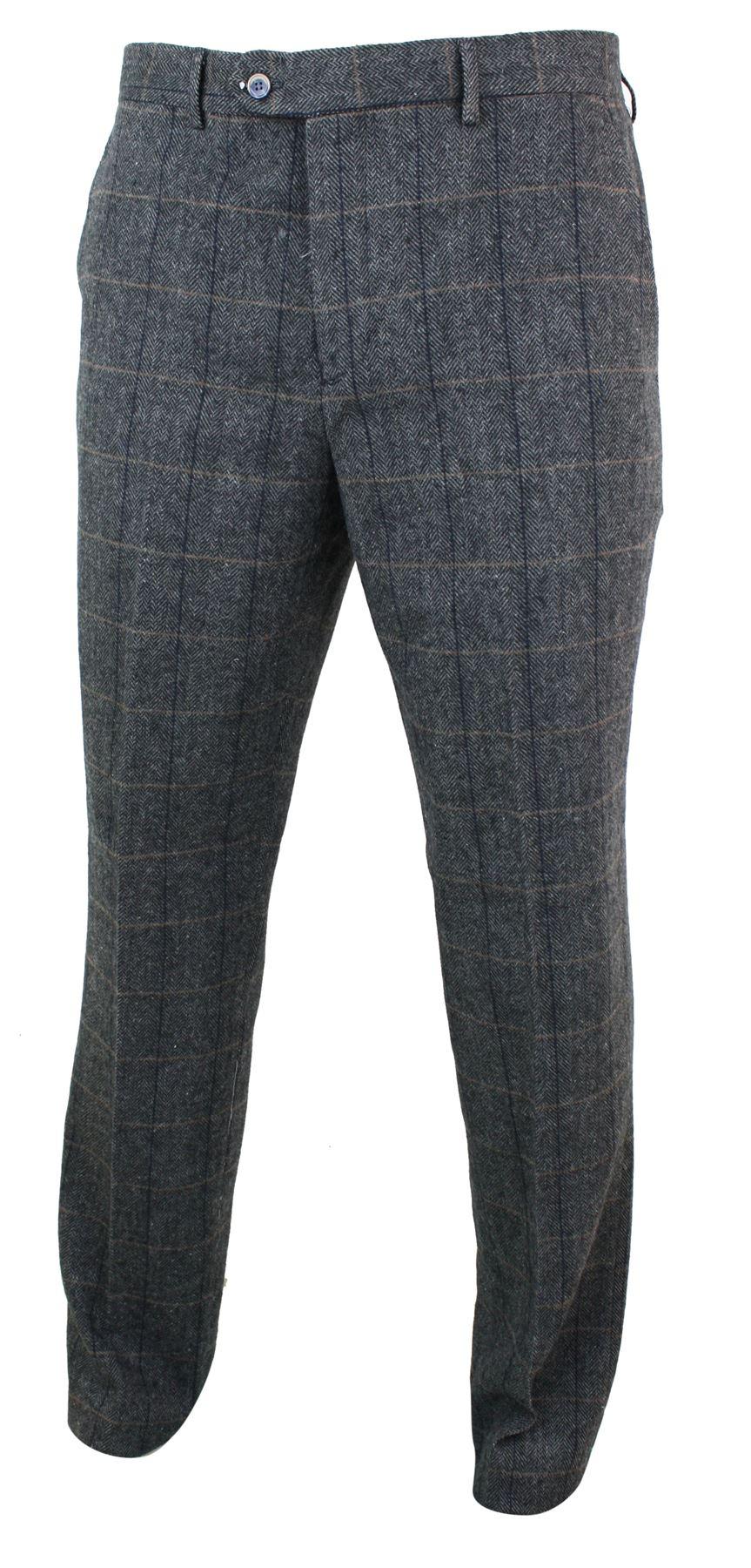 Mélangée Rétro Pantalon Vintage Peaky Laine Tweed Homme Carreaux BnB6wfZq