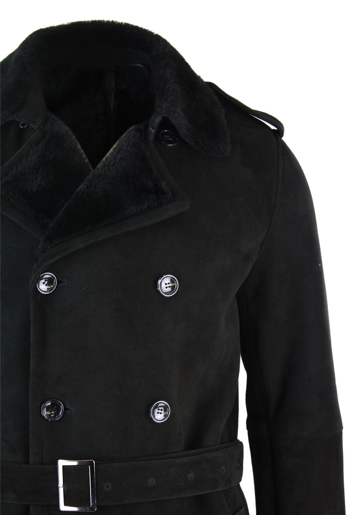 Croisé Manteau De Gris Noir Retournée Veston Peau Mouton Homme qqEw1r8