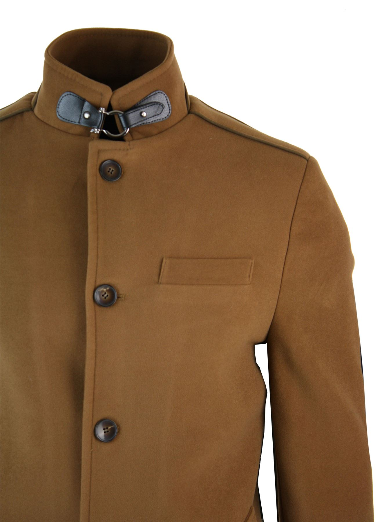 veste longue manteau 3 4 col mao montant d contract chic hiver homme ebay. Black Bedroom Furniture Sets. Home Design Ideas