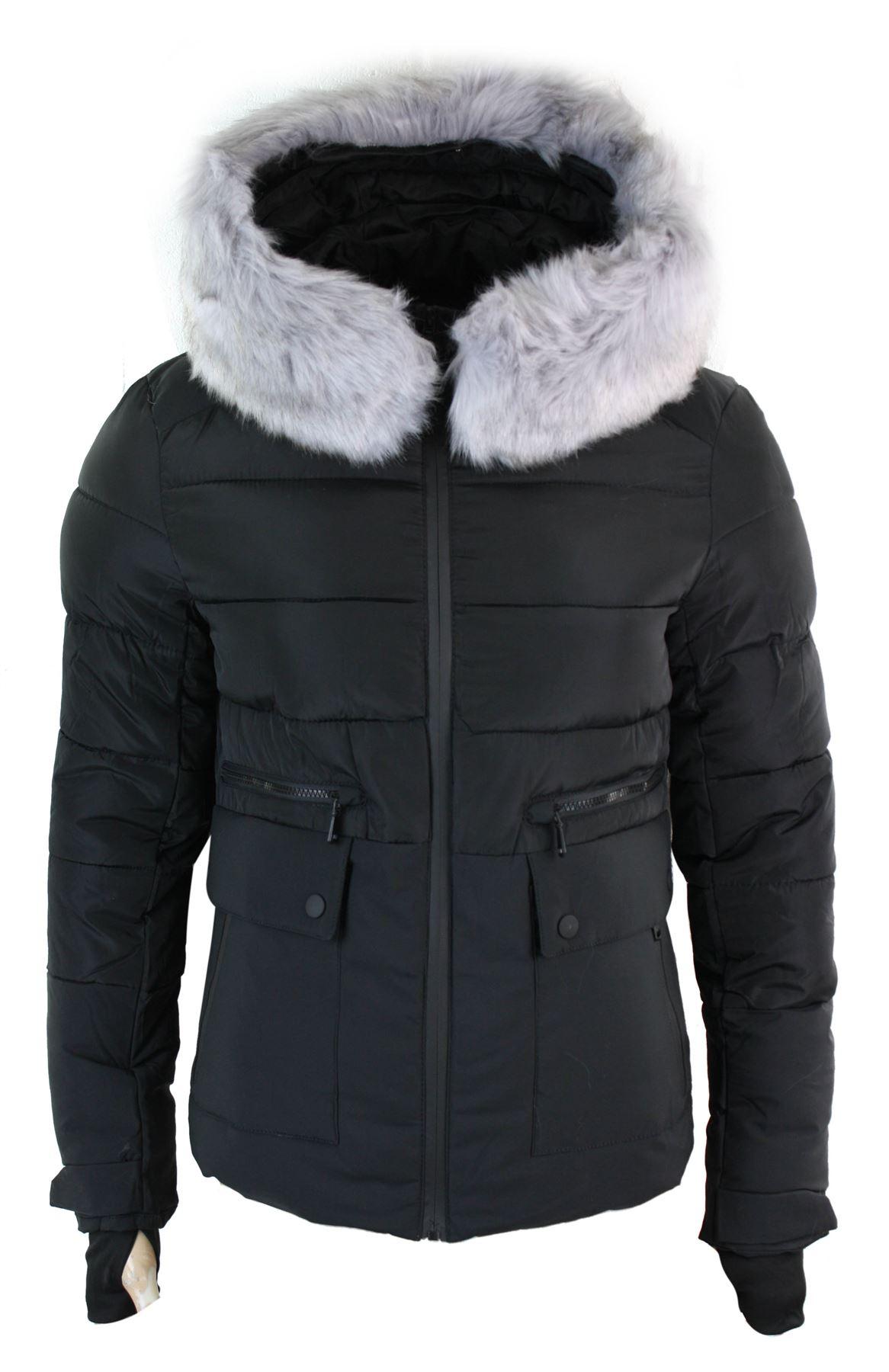 manteau homme doudoune matelass e capuche fausse fourrure bleu marine noir ebay. Black Bedroom Furniture Sets. Home Design Ideas