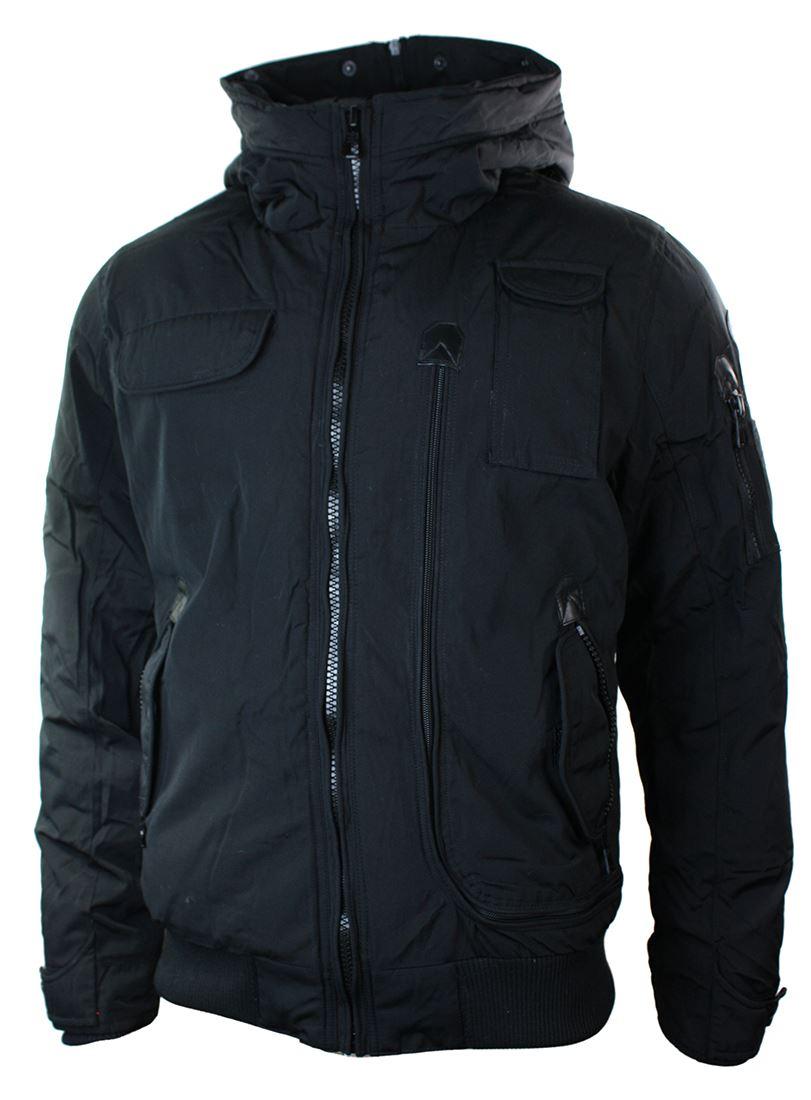 Mens Padded Winter Short Bomber Jacket Blue Black Fur