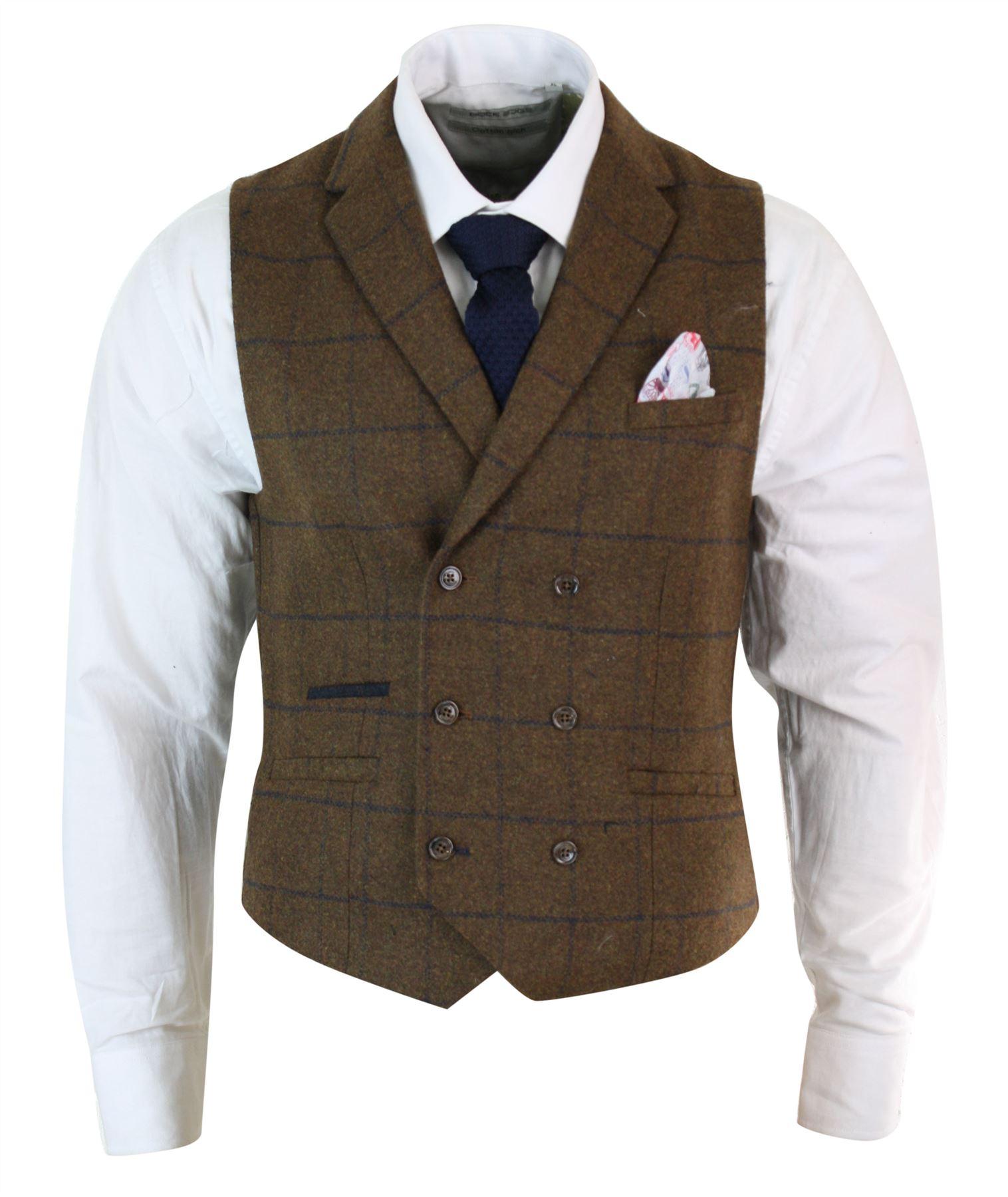 Mens-Double-Breasted-Herringbone-Tweed-Peaky-Blinders-Vintage-Check-Waistcoat miniatuur 21