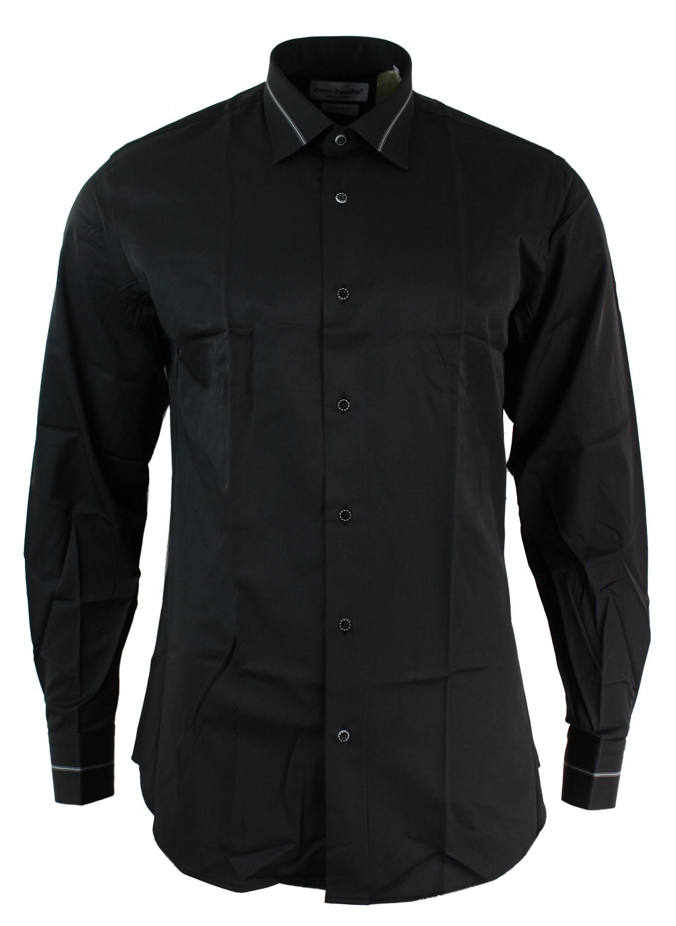 Mens slim fit white black fitted cotton button dress shirt for Mens slim fit dress shirts