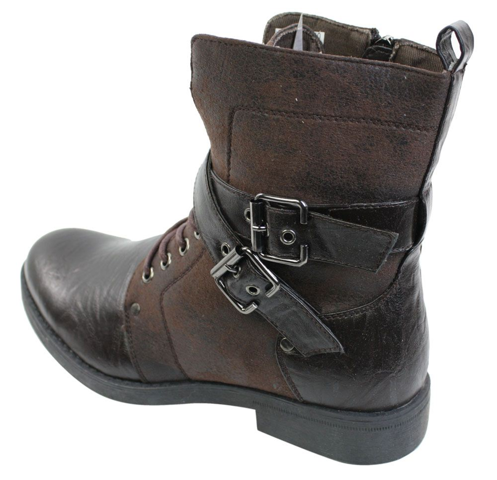 mens rock elmo ankle boots brown black leather