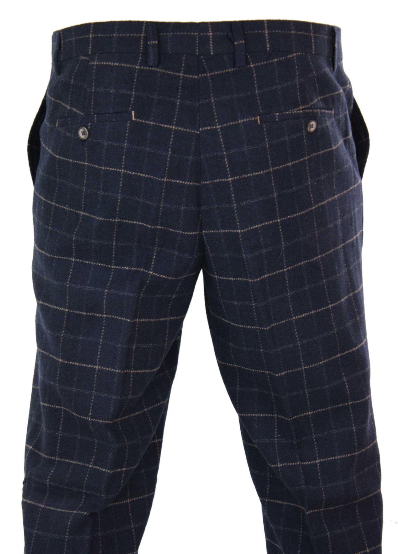 Mens-Herringbone-Tweed-Check-Peaky-Blinders-Trousers-Wool-Vintage-Classic-Retro thumbnail 15