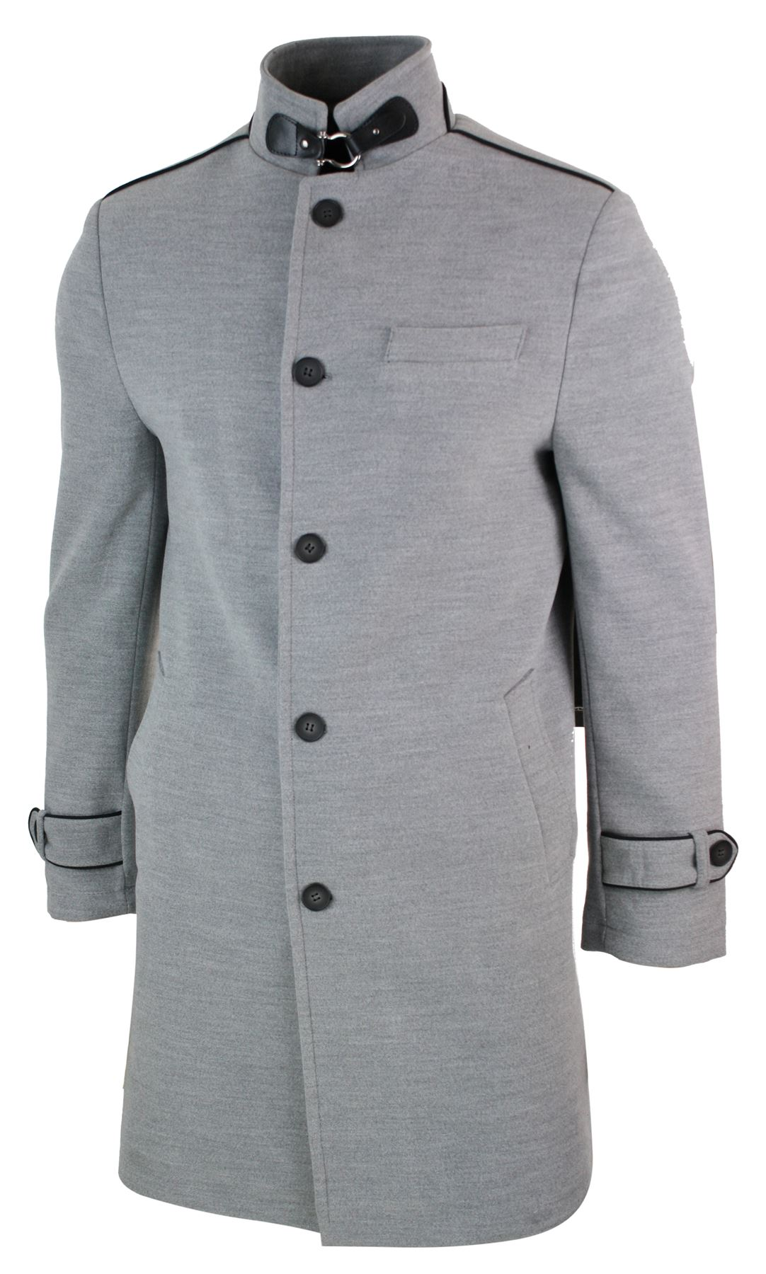 veste longue manteau 3 4 col mao montant d contract chic hiver homme ebay. Black Bedroom Furniture Sets. Home Design Ideas