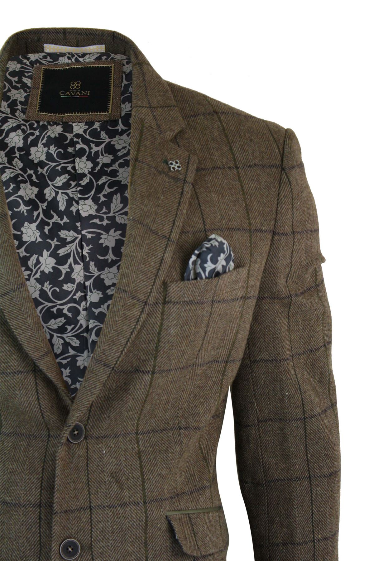 veste homme tweed chevrons marron vintage carreaux bleu marine blazer ebay. Black Bedroom Furniture Sets. Home Design Ideas