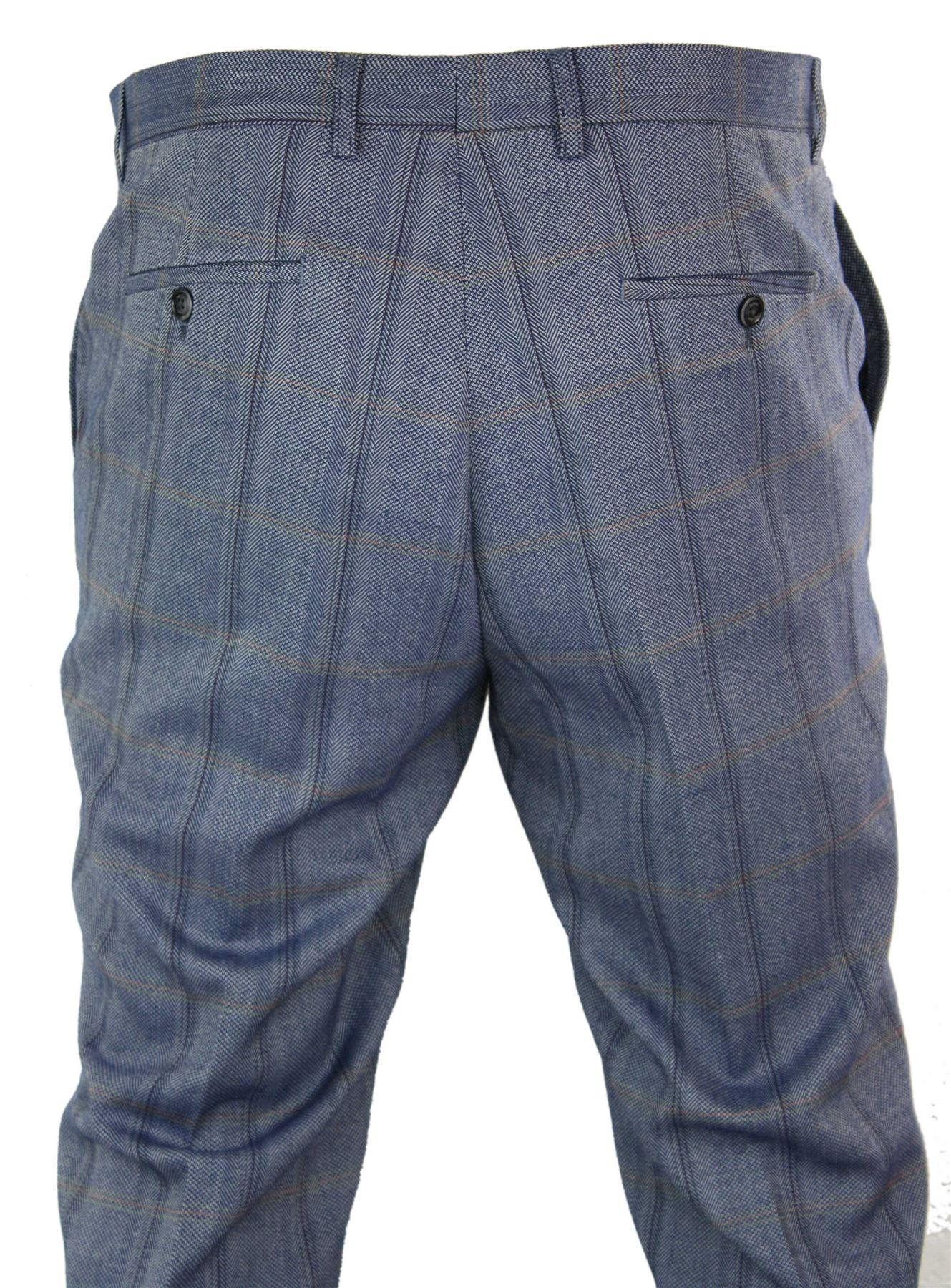 Mens-Herringbone-Tweed-Check-Peaky-Blinders-Trousers-Wool-Vintage-Classic-Retro thumbnail 3