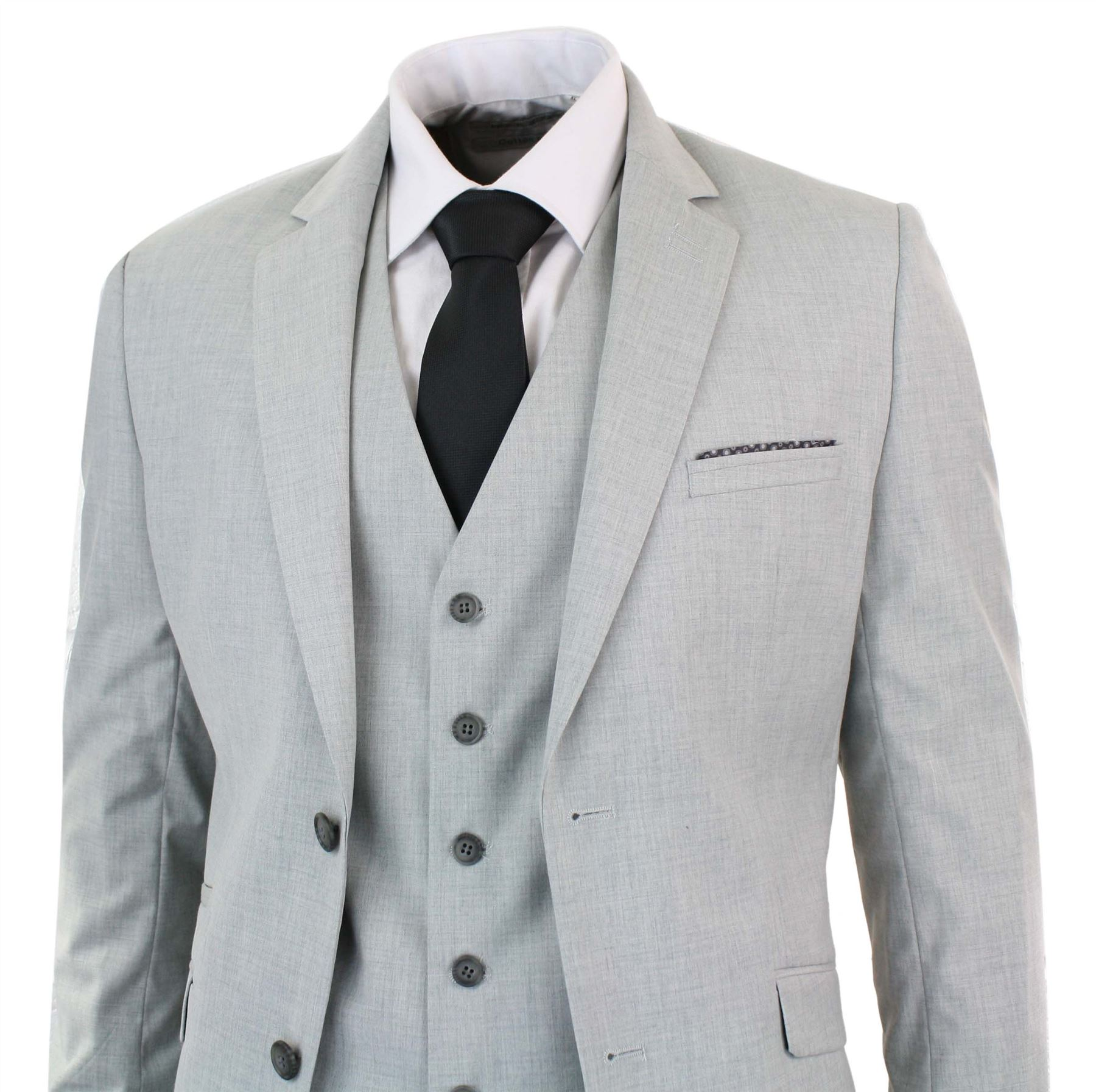 mens 3 piece light grey suit blazer waistcoat trouser. Black Bedroom Furniture Sets. Home Design Ideas
