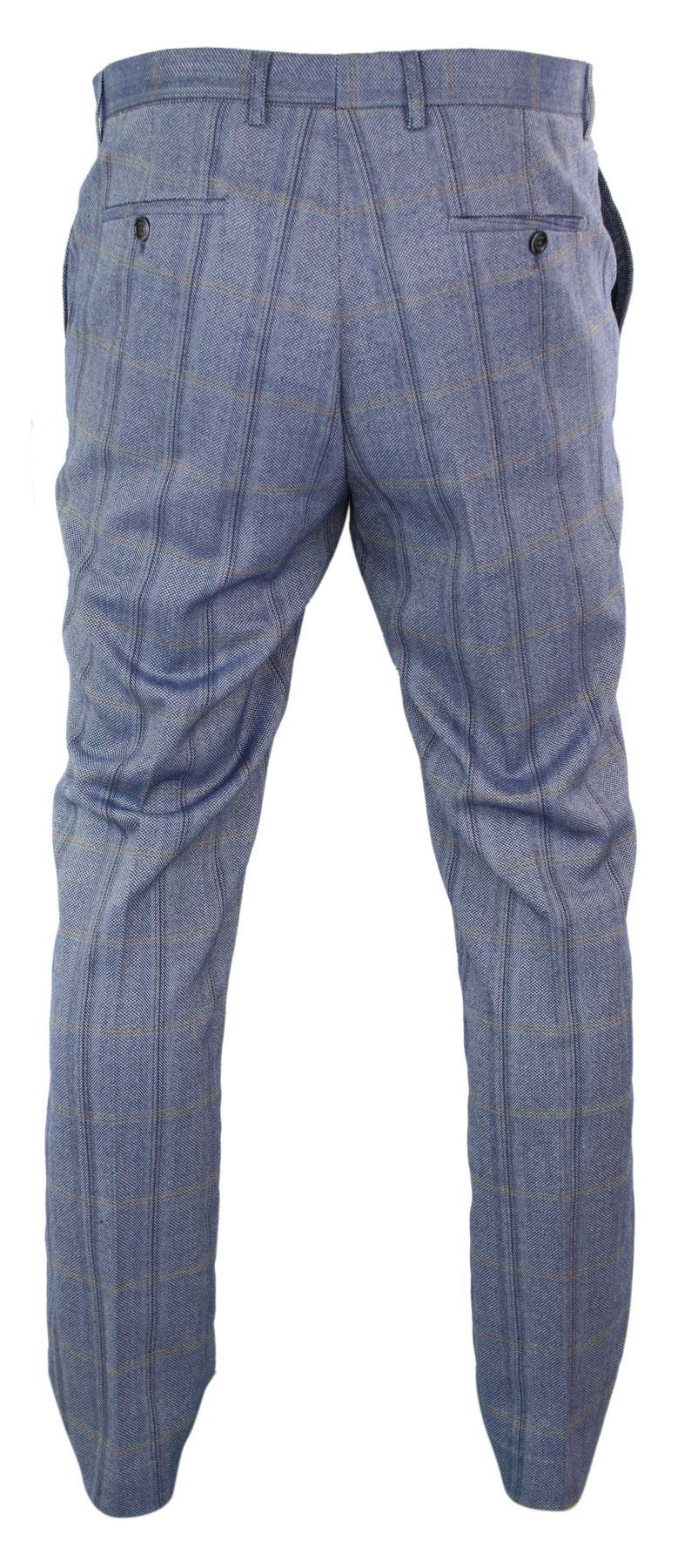 Mens-Herringbone-Tweed-Check-Peaky-Blinders-Trousers-Wool-Vintage-Classic-Retro thumbnail 5