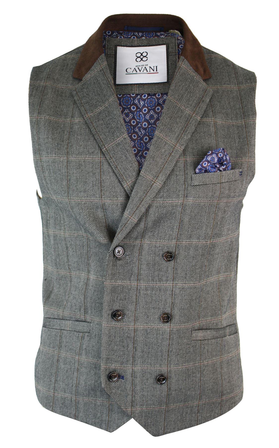 Mens-Double-Breasted-Herringbone-Tweed-Peaky-Blinders-Vintage-Check-Waistcoat miniatuur 28