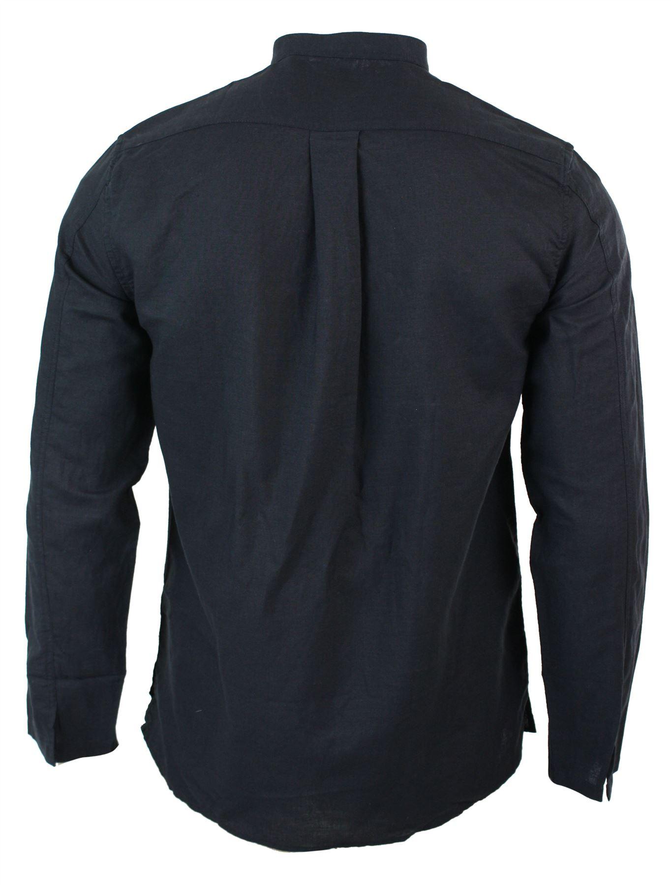chemise boutons hauts col mao coton lin t plage patte de boutonnage homme ebay. Black Bedroom Furniture Sets. Home Design Ideas
