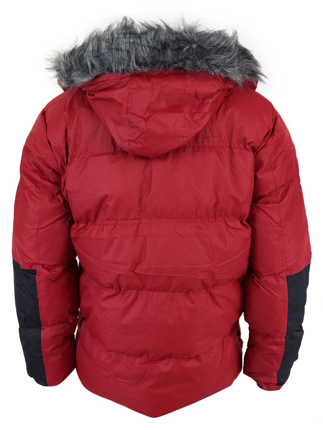 6e8208db9 Details about Mens Padded Puffer Parka Jacket Red Grey Warm Fur Hood Autumn  Winter
