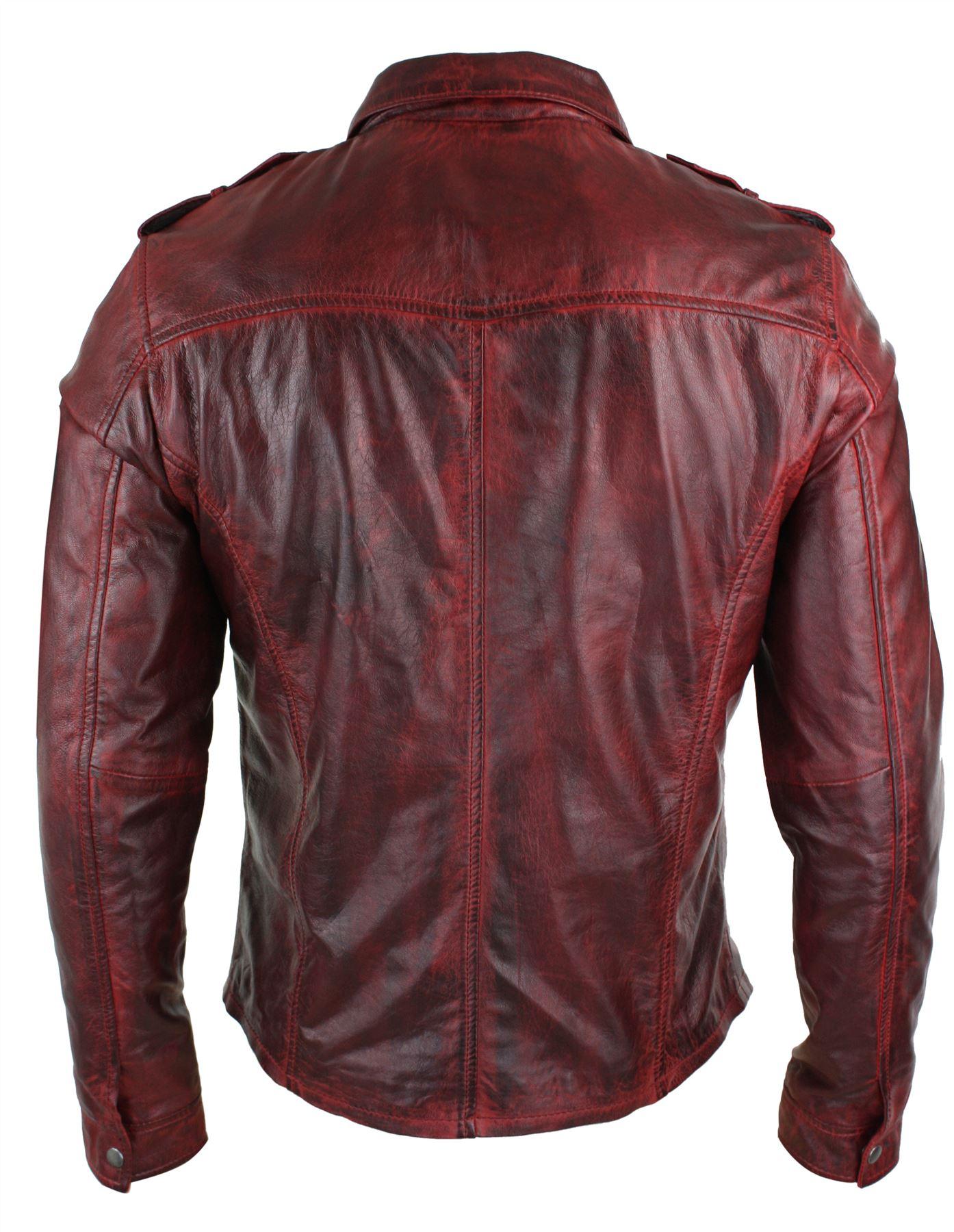 b06e146006a Veste homme cuir véritable marron rouge délavé coupe cintrée ...