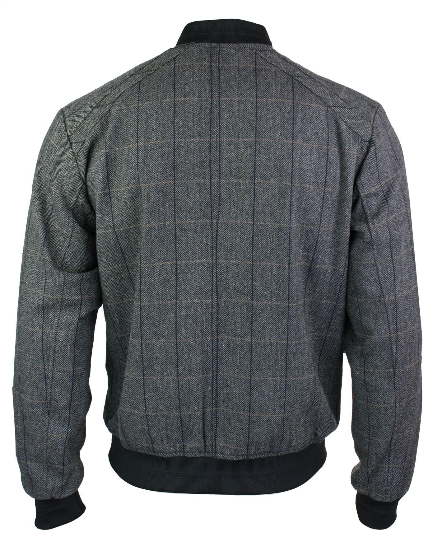 Veste bomber carreaux laine tweed chevrons harrington for Veste a carreaux homme