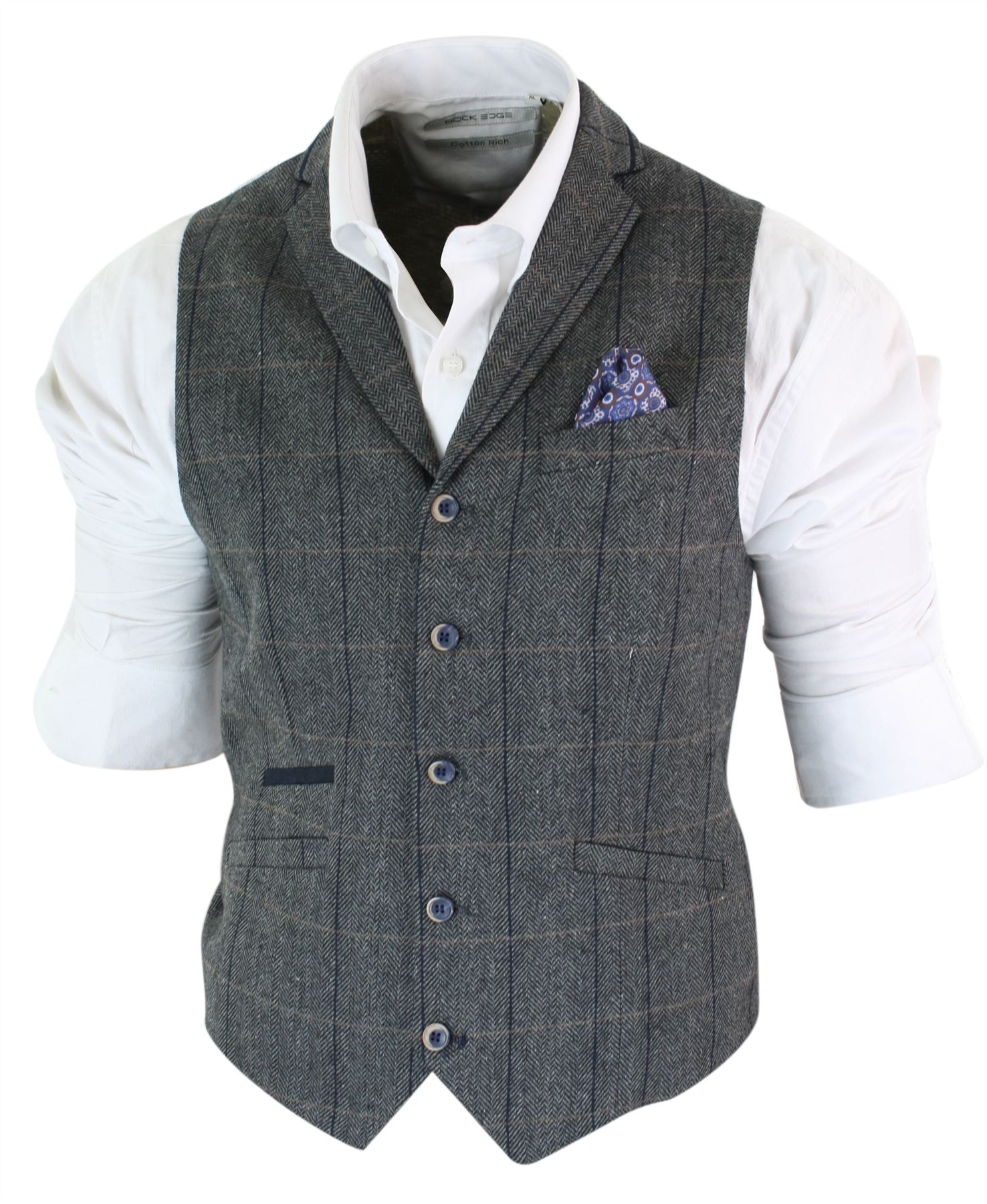 ramasser 4938e ef5ed Details about Mens waistcoat jacket tweed herringbone check brown grey  vintage slim fit- show original title
