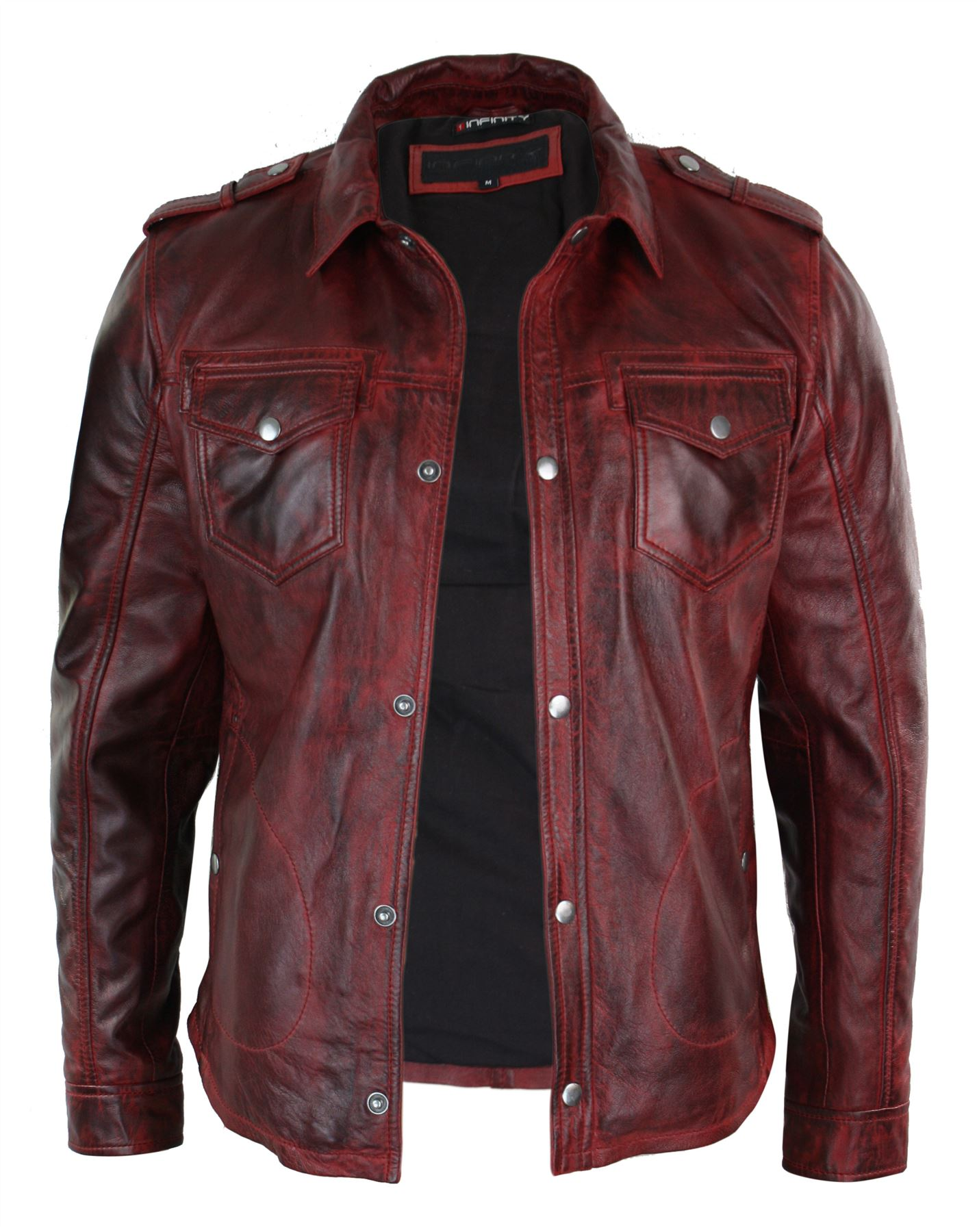veste homme cuir v ritable marron rouge d lav coupe cintr e boutonn e r tro ebay. Black Bedroom Furniture Sets. Home Design Ideas