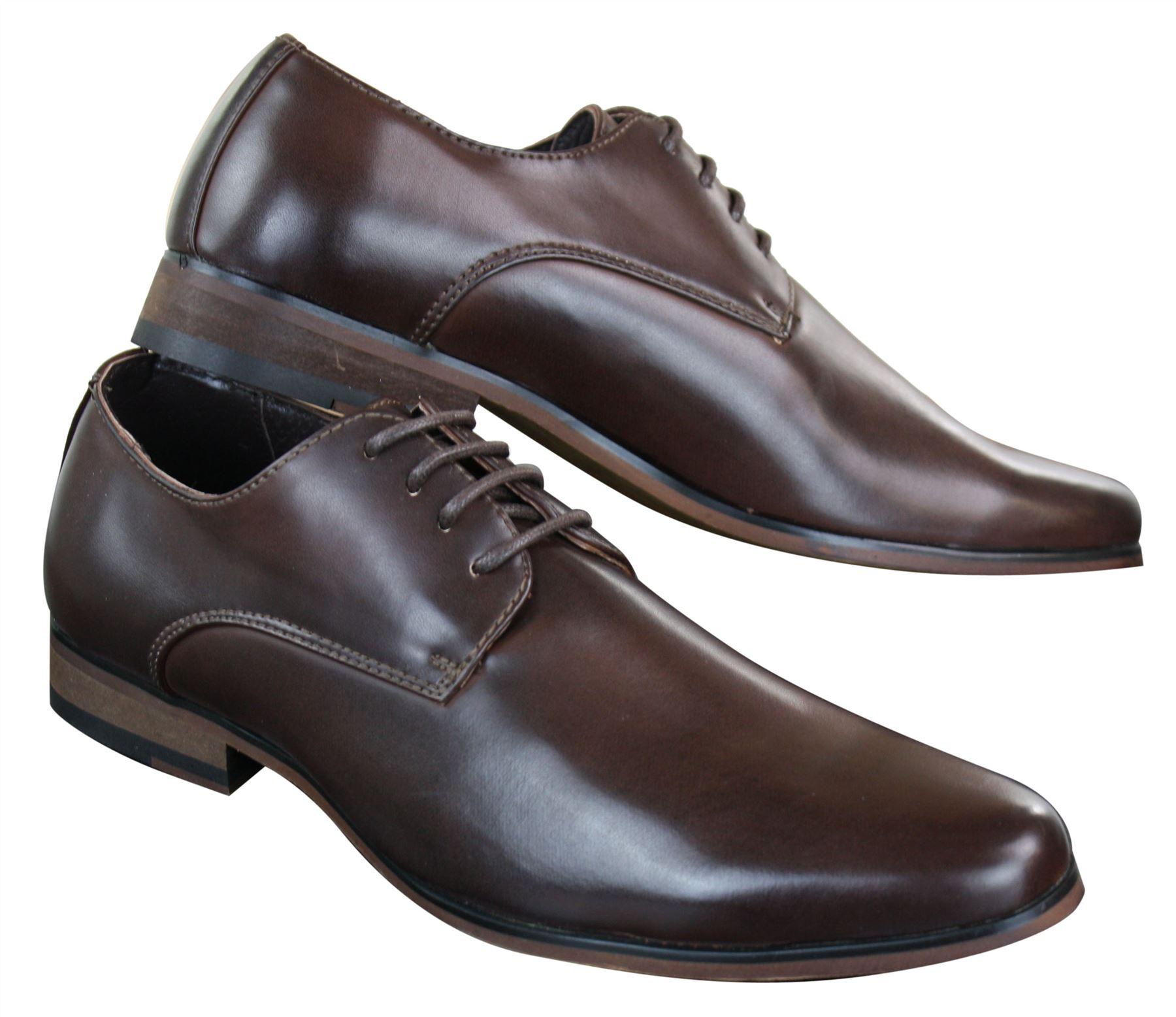 Scarpe Classiche da Uomo in Finta Pelle Marrone Stile Vintage con Lacci 3 3  di 4 ... 904e643271f