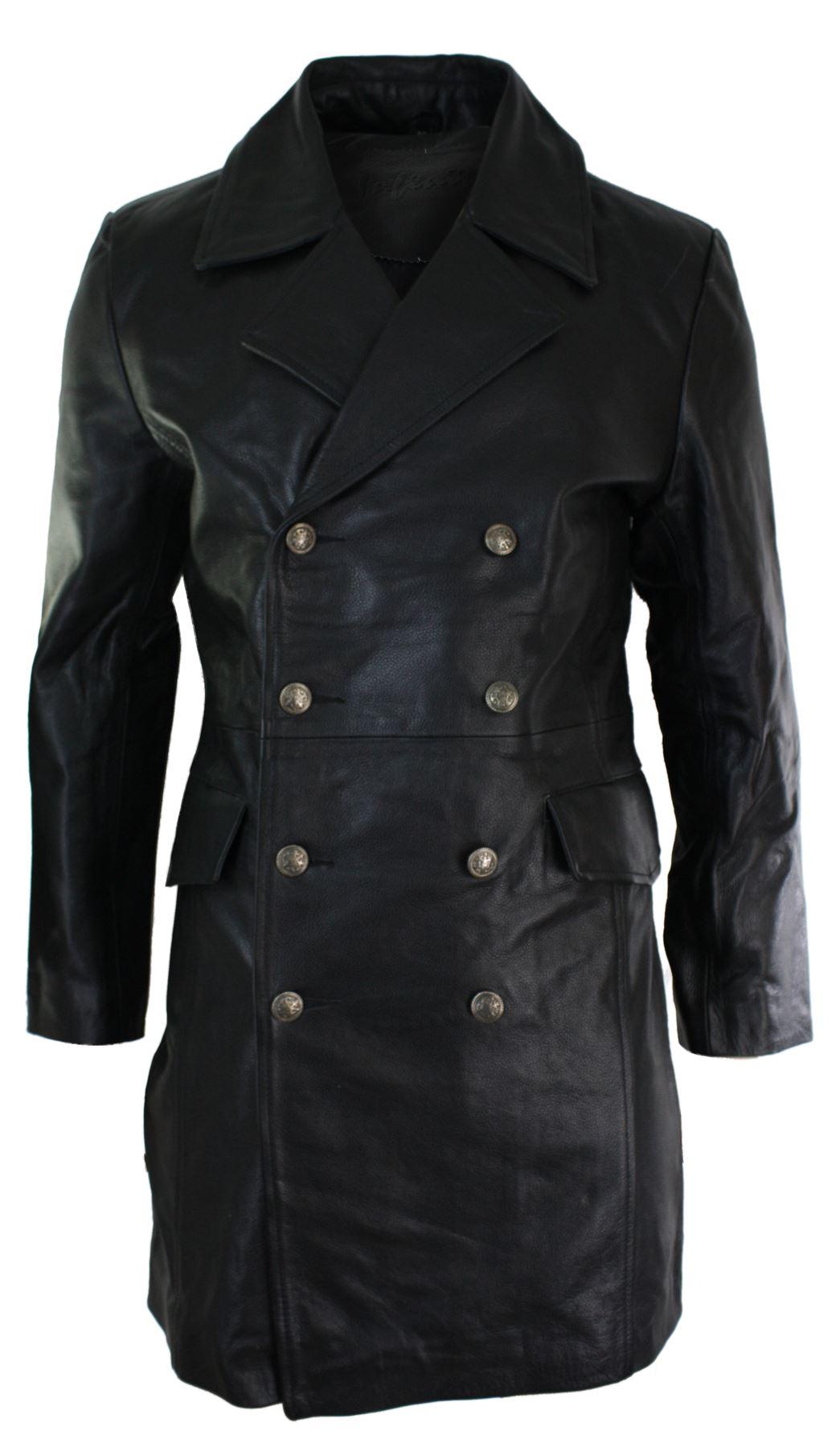 Mens Long 3 4 Black Real Leather German Generals Jacket