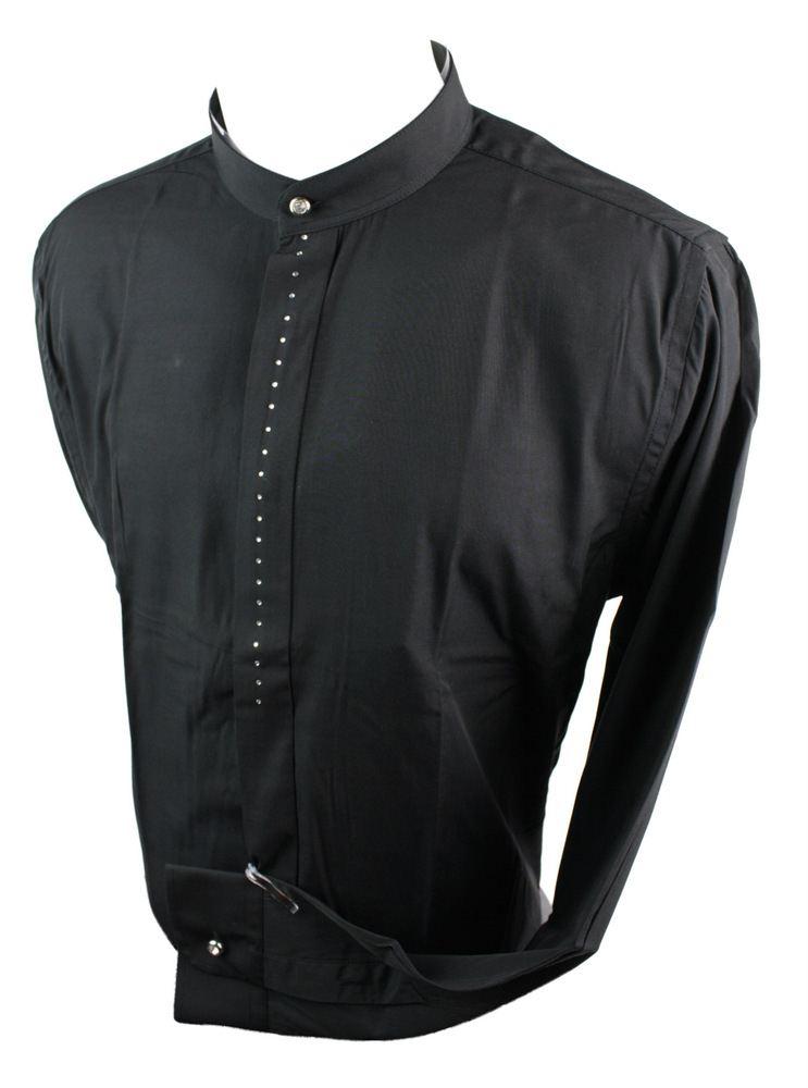 Mens chinese grandad collar formal casual shirt white Mens grandad collar shirt