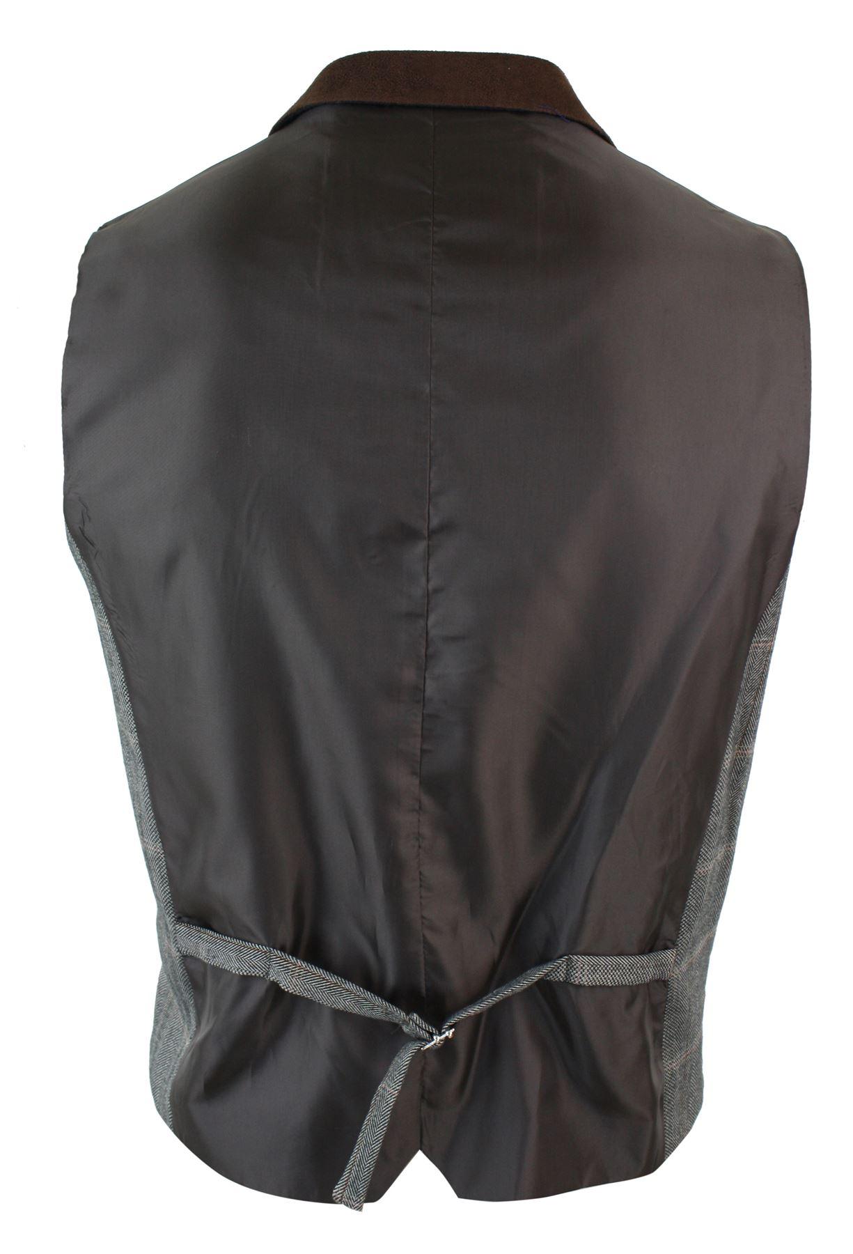 Mens-Double-Breasted-Herringbone-Tweed-Peaky-Blinders-Vintage-Check-Waistcoat miniatuur 29