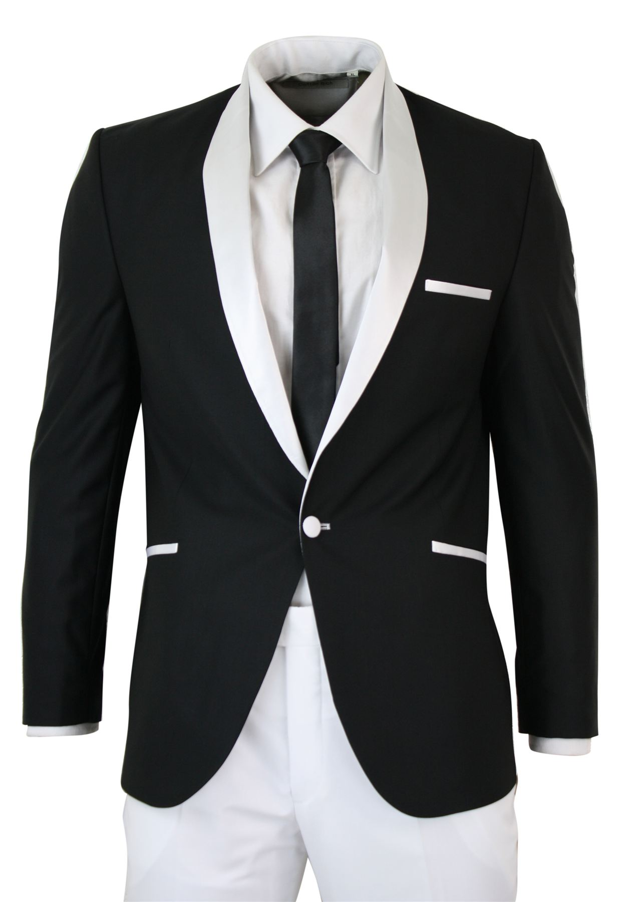 Mens White Black Shawl Collar Tuxedo Dinner Suit Tailored Fit ...