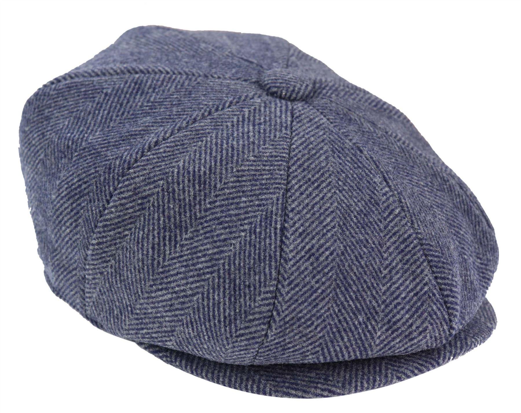 GREY TWEED HERRINGBONE NEWSBOY CAP 8 PANEL BAKER BOY PEAKY BLINDER UK SELLER