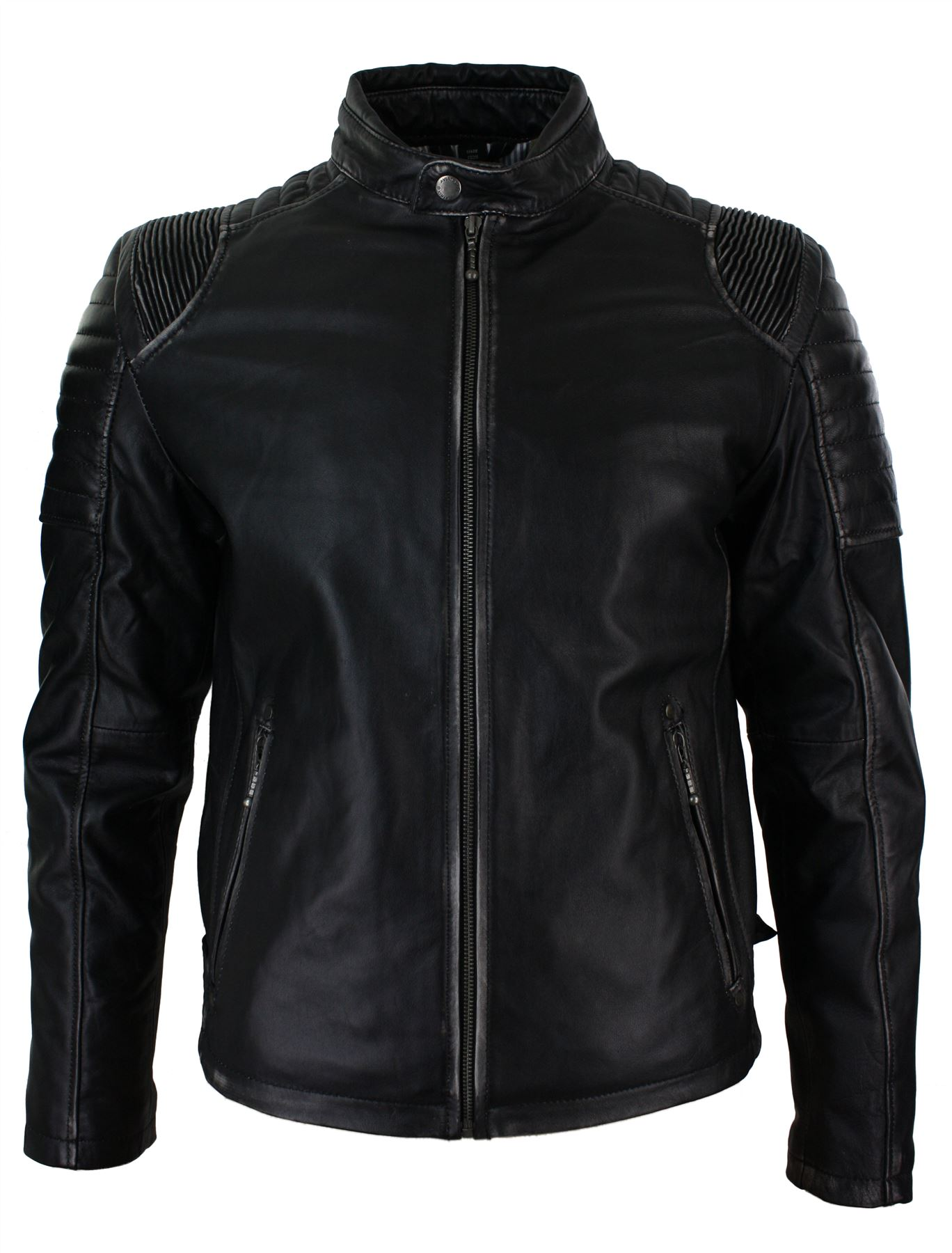 Mens black ruboff washed vintage effect leather jacket fitted biker style casual ebay - Laver une veste en cuir ...