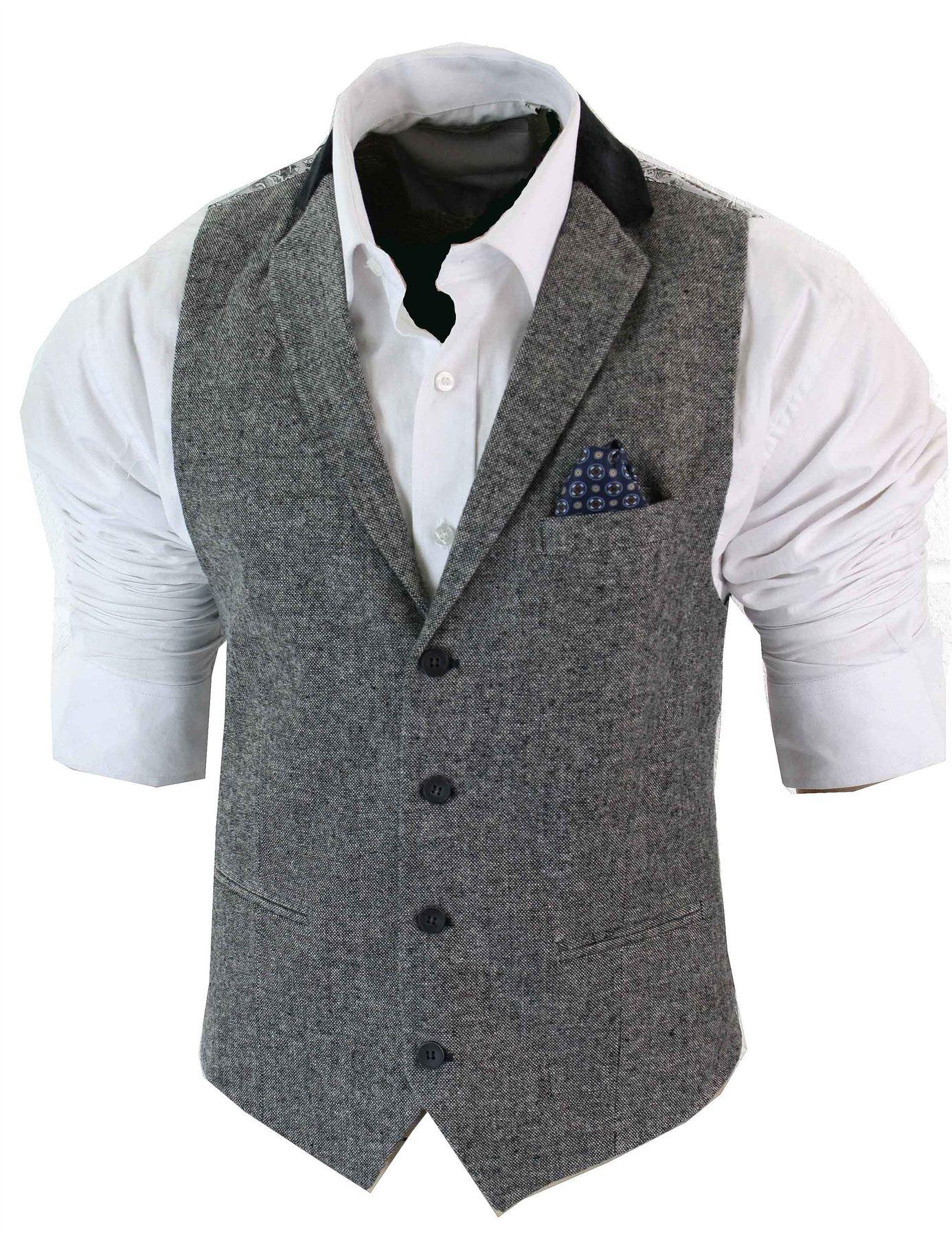 gilet homme veston vintage tweed chevrons marron noir cr me gris coupe cintr e ebay. Black Bedroom Furniture Sets. Home Design Ideas