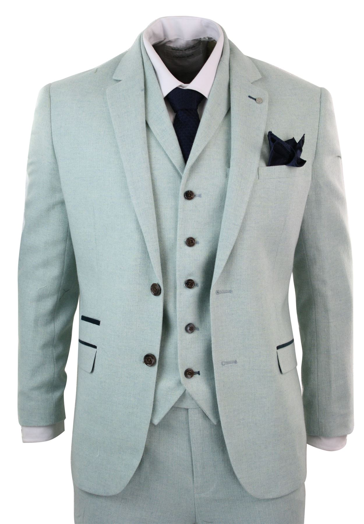 Mens Herringbone Tweed 3 Piece Tailored Fit Suit Light Grey Green ...