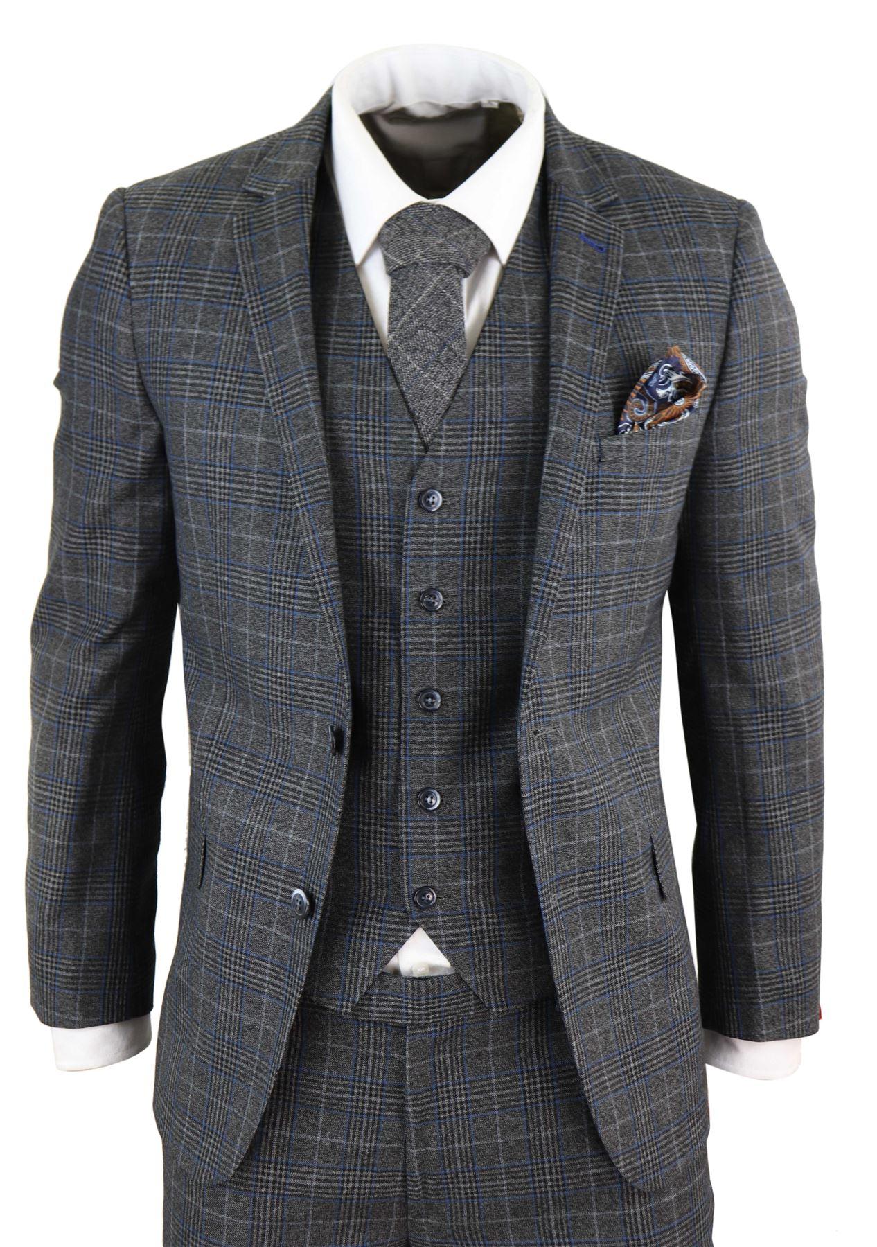 Costume 3 pièces homme chevrons carreaux gris bleu coupe slim rétro 6 6 sur  6 Voir Plus 150d1054906