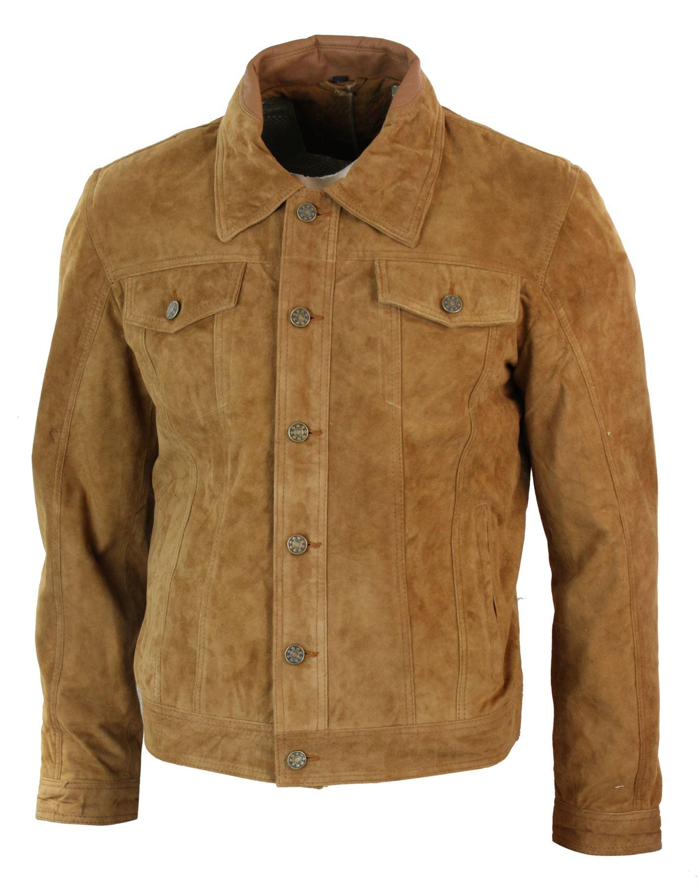 Mens Vintage Short Denim Style Retro Real Suede Leather ...