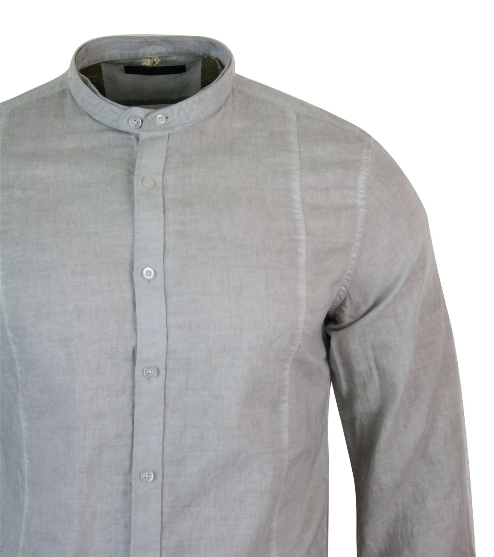 Mens Cotton Linen Grandad Nehru Collar Button Shirt Slim Fit Light