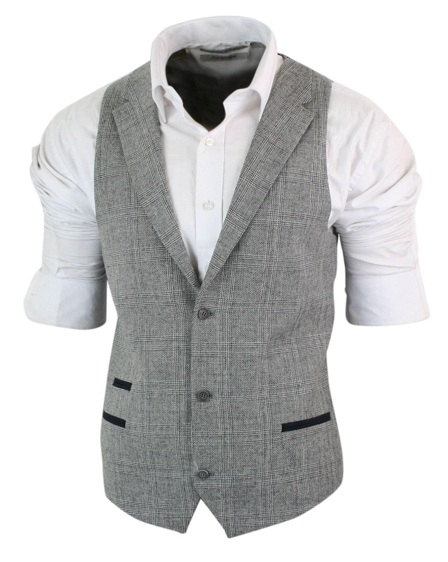 Homme 3 pièces MARC DARCY TWEED RETRO Herringbone Navy Vin Bordure Slim Fit Costume