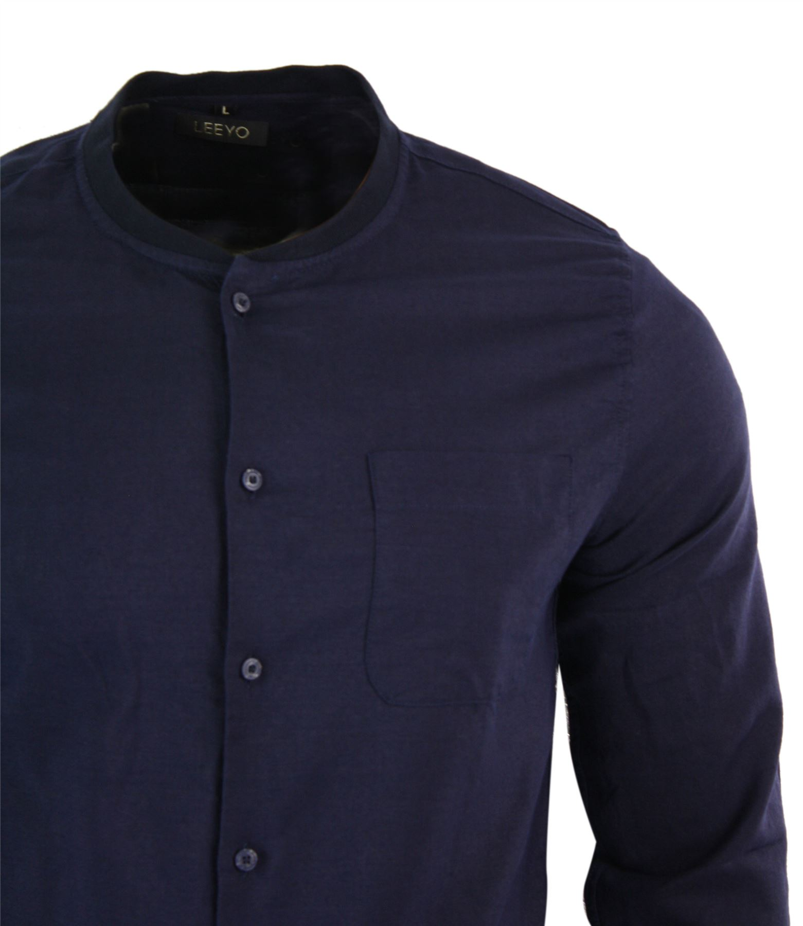 chemise homme boutonn e en lin avec poche col grand p re. Black Bedroom Furniture Sets. Home Design Ideas