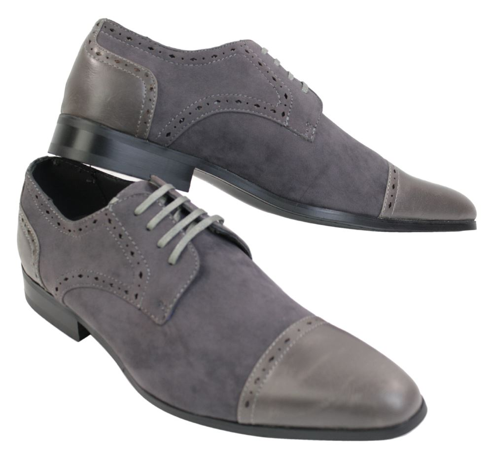 mens italian black brown grey suede amp leather laced heel