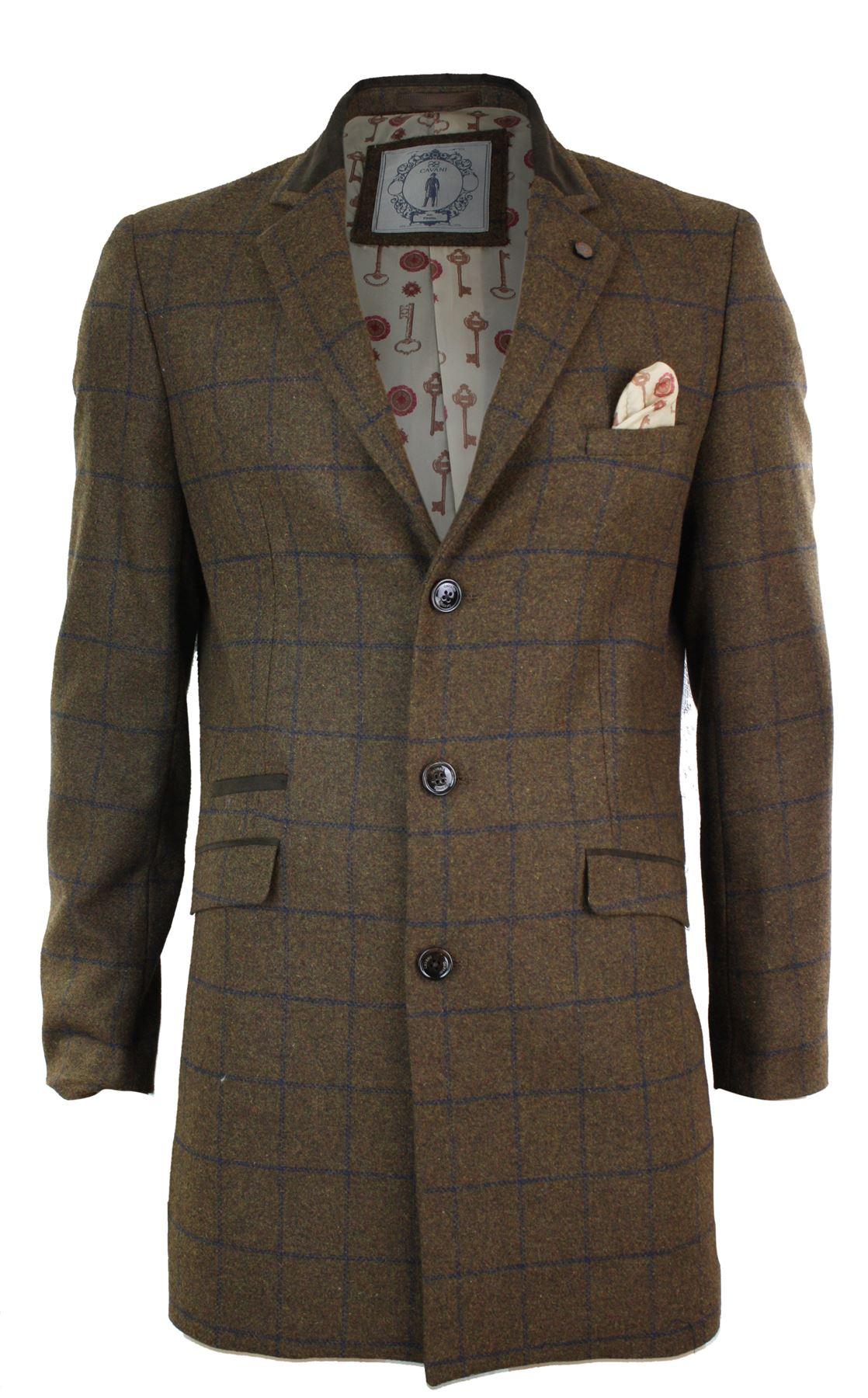 manteau homme veste 3 4 gris marron tweed laine chevrons. Black Bedroom Furniture Sets. Home Design Ideas