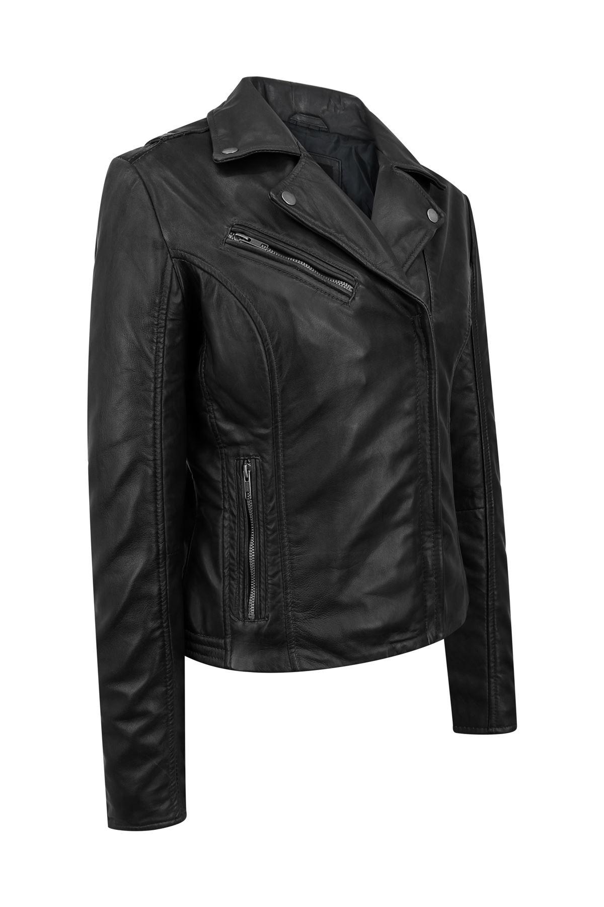 Blouson-femme-cuir-Napa-veritable-fermeture-zip-diagonale-ajuste miniature 7