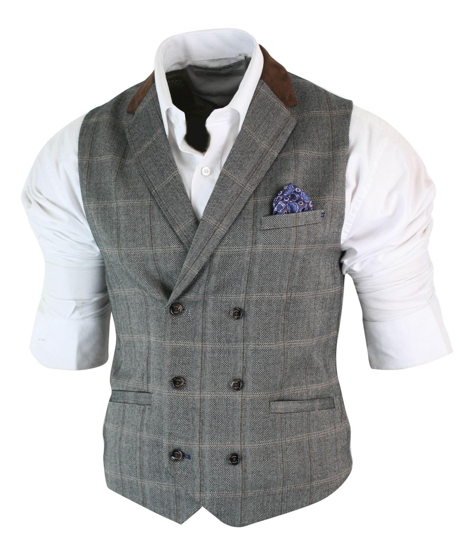 Mens-Double-Breasted-Herringbone-Tweed-Peaky-Blinders-Vintage-Check-Waistcoat miniatuur 27