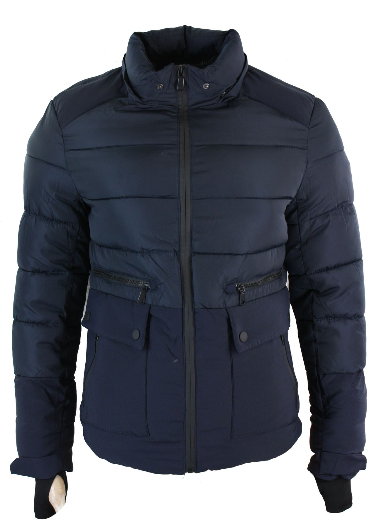 Mens Faux Fur Hood Puffer Quilted Jacket Slim Fit Navy