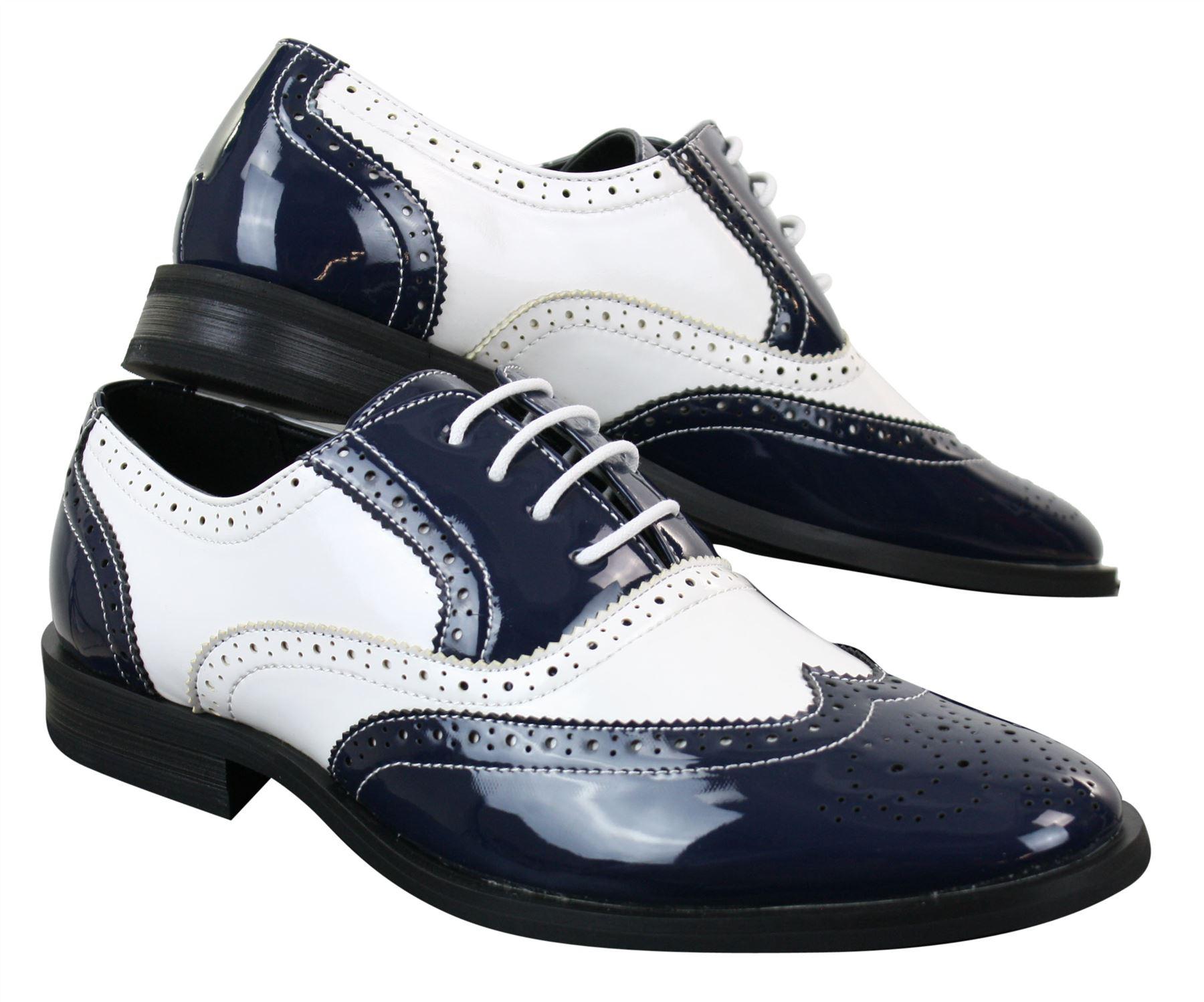 ac8faf0c07511b Chaussures homme cuir PU verni brillant brogues Gatsby 1920 noir ...