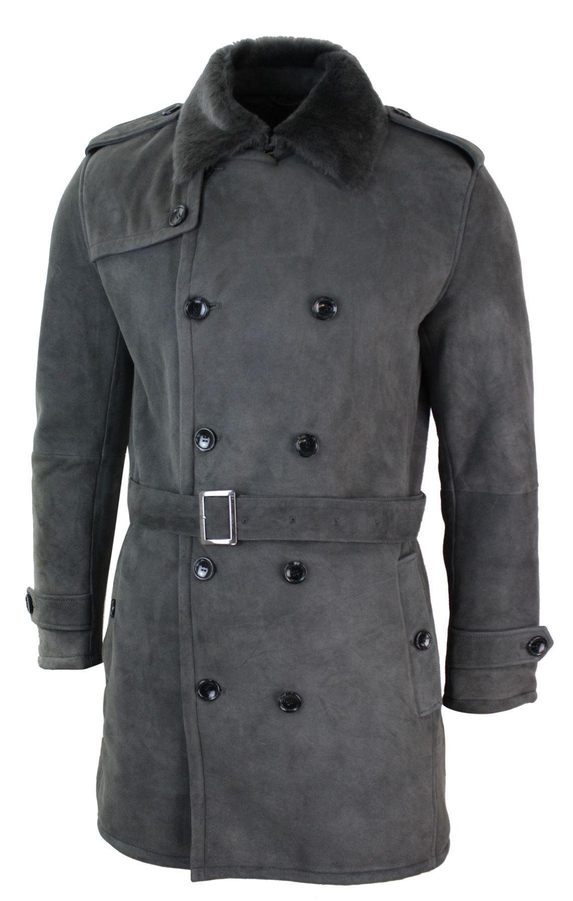 manteau homme peau de mouton retourn e gris noir veston. Black Bedroom Furniture Sets. Home Design Ideas