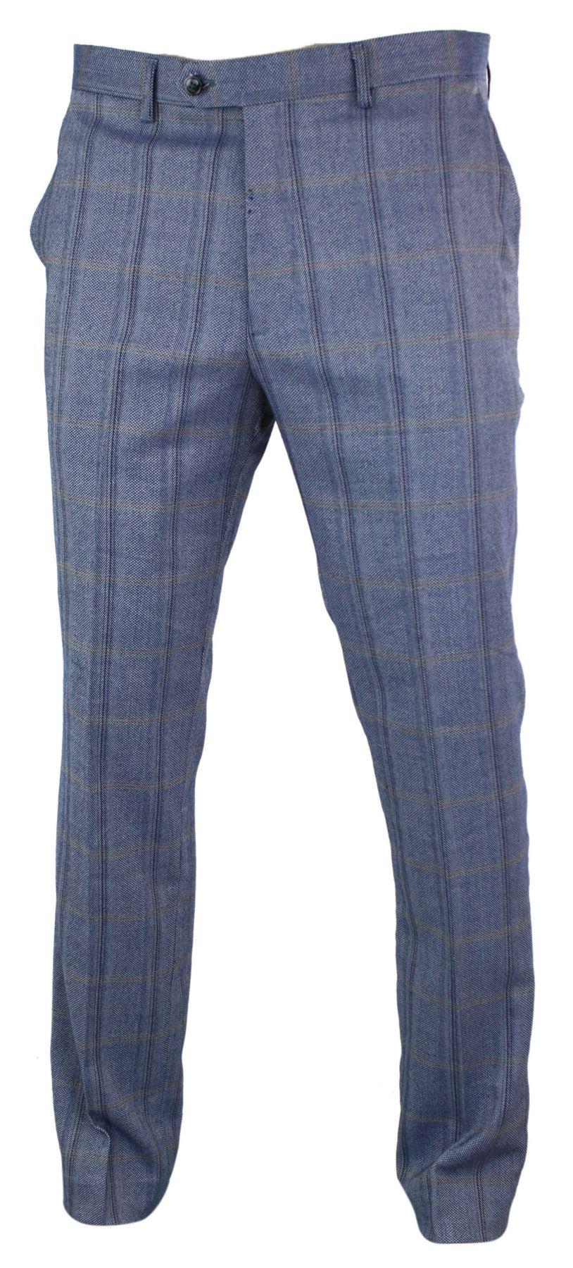 Mens-Herringbone-Tweed-Check-Peaky-Blinders-Trousers-Wool-Vintage-Classic-Retro thumbnail 4