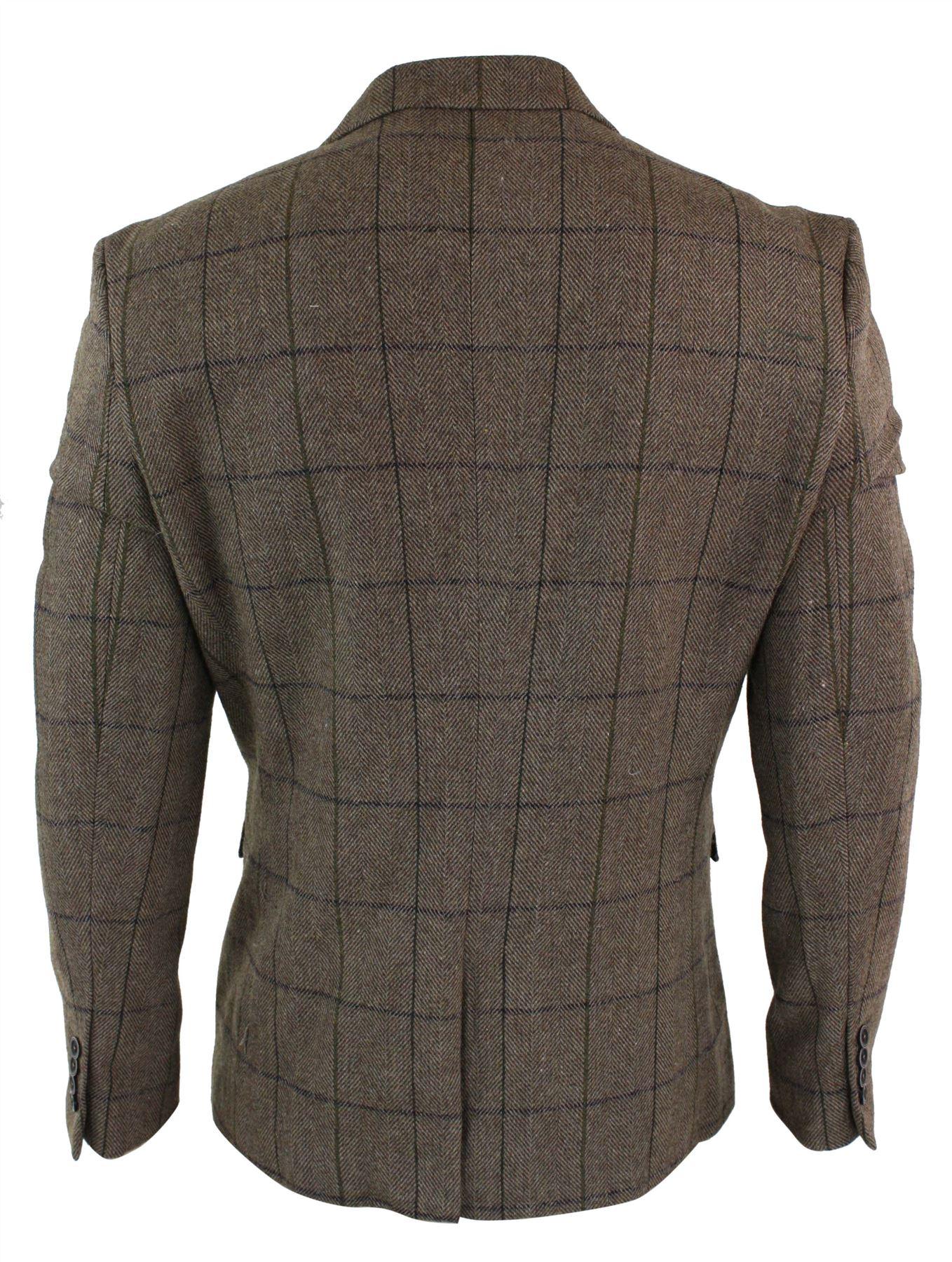 veste homme tweed chevrons marron vintage carreaux bleu marine blazer ebay. Black Bedroom Furniture Sets. Home Design Ideas